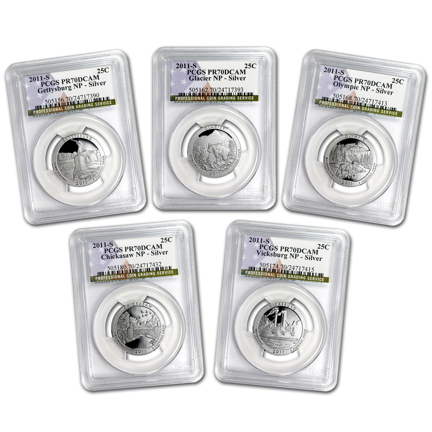 2011-S Silver Quarter ATB 5-Coin Set PR-70