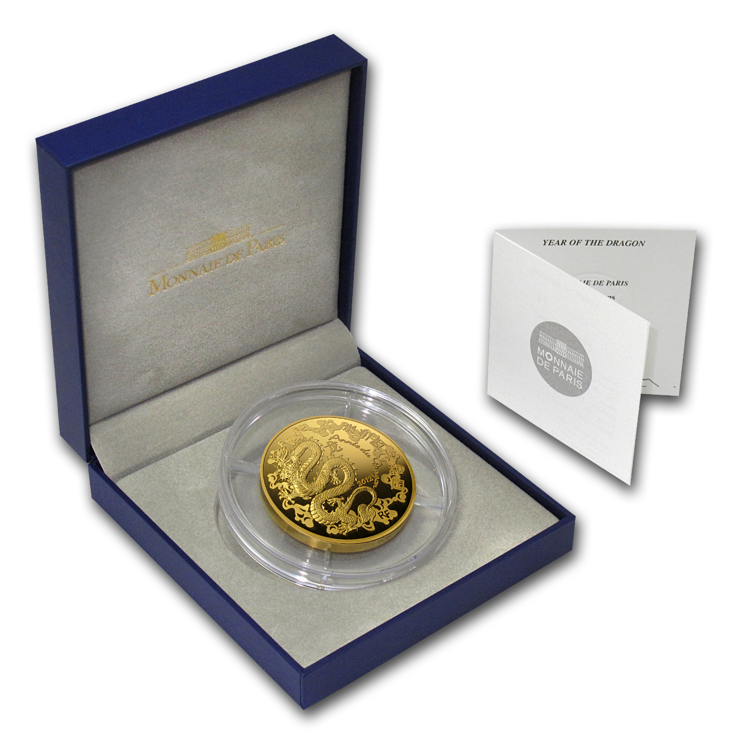 2012 5 oz Proof Gold €500 Year of the Dragon (8-4)