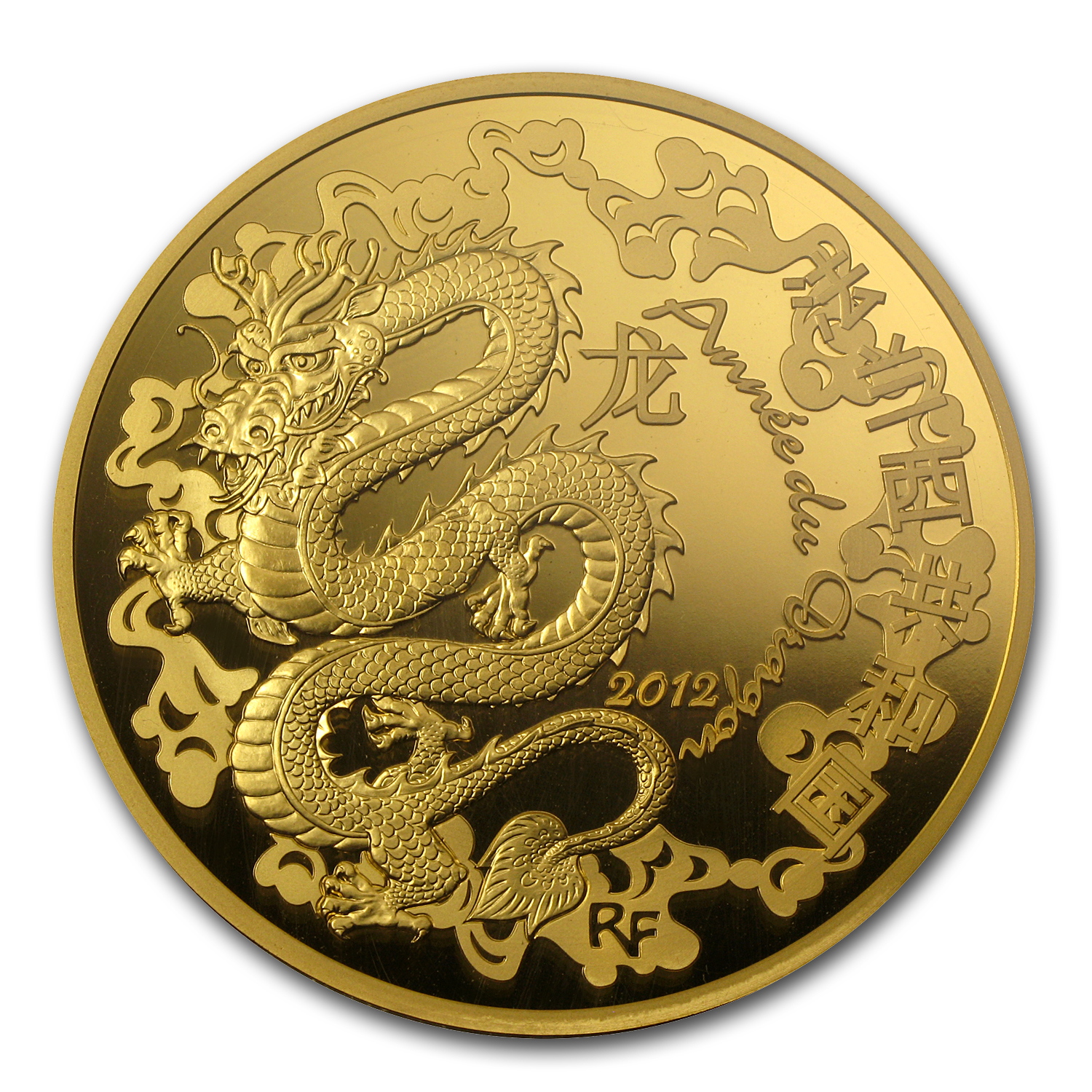 2012 5 oz Proof Gold €500 Year of the Dragon (8-8)