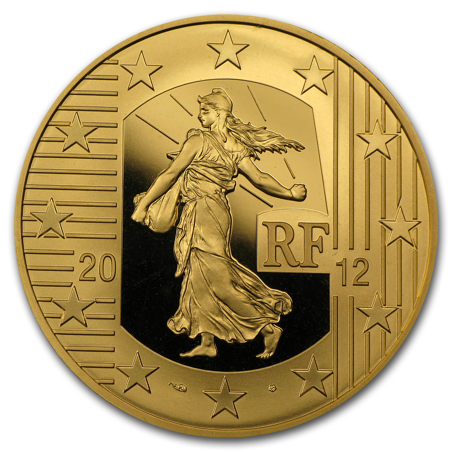 2012 2 oz Proof Gold €250 The Sower 10th Anniv of the Euro