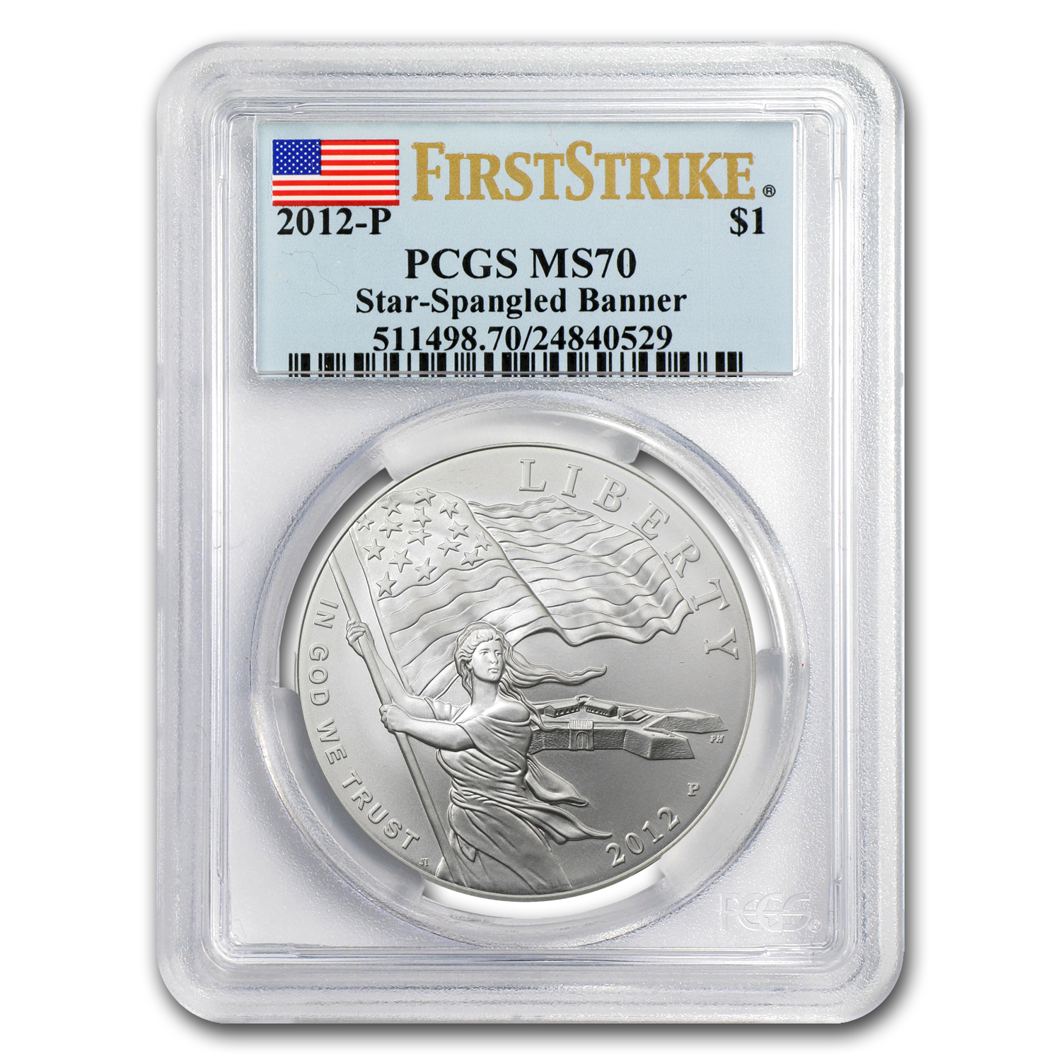 2012-P Star Spangled Banner $1 Silver Commem MS-70 PCGS (FS)