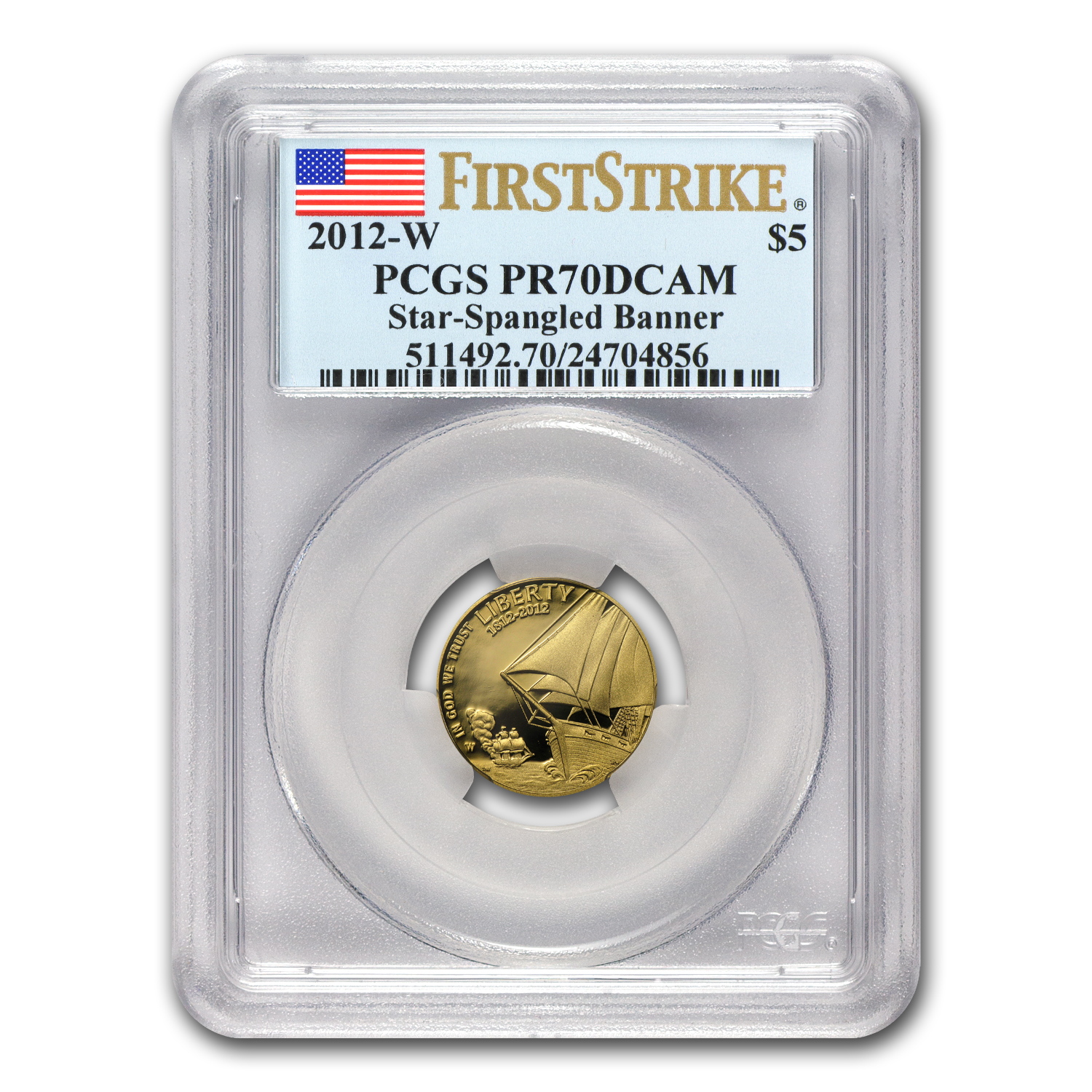 2012-W $5 Gold Commem Star Spangled Banner PR-70 PCGS (FS)