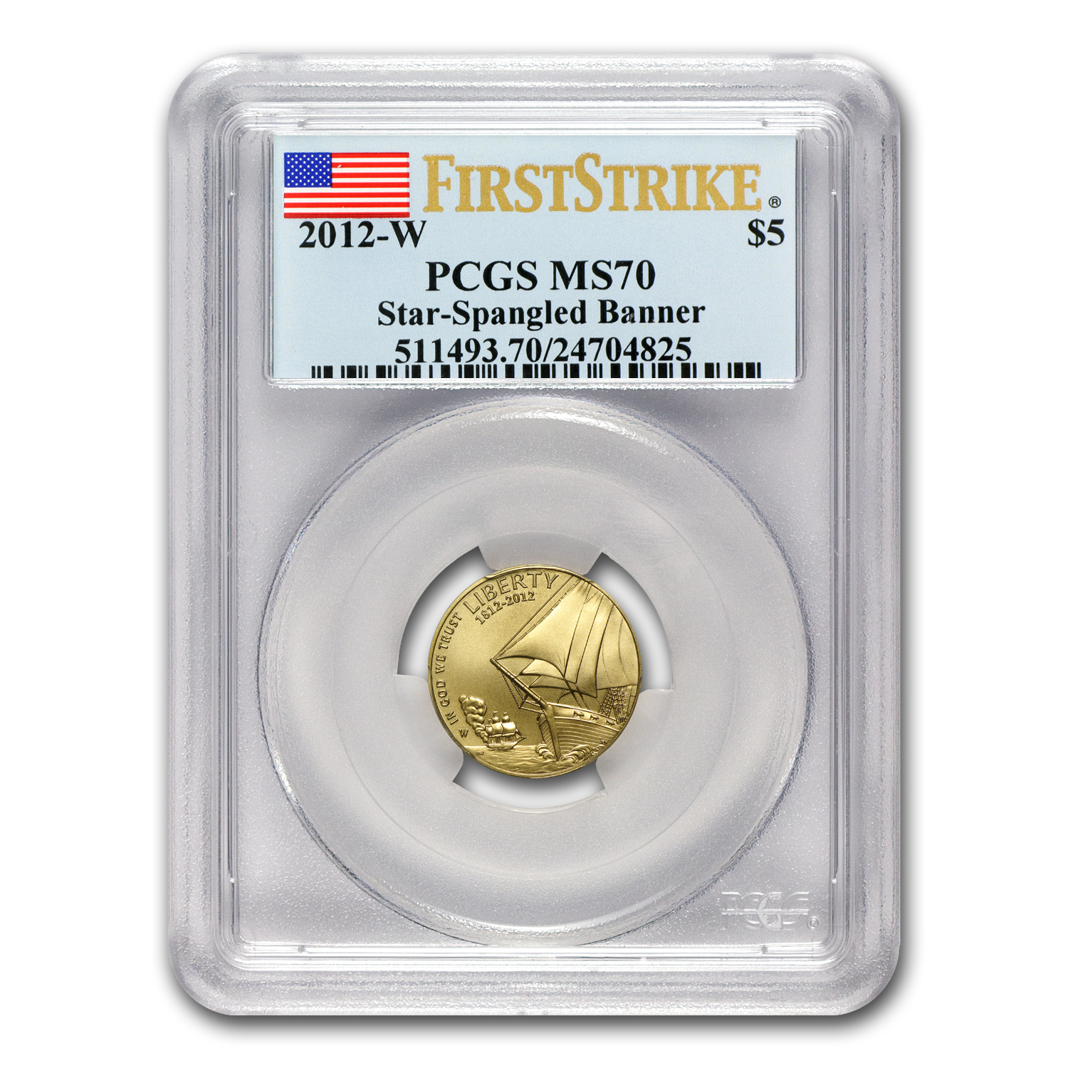 2012-W Gold $5 Commem Star Spangled Banner MS-70 PCGS (FS)