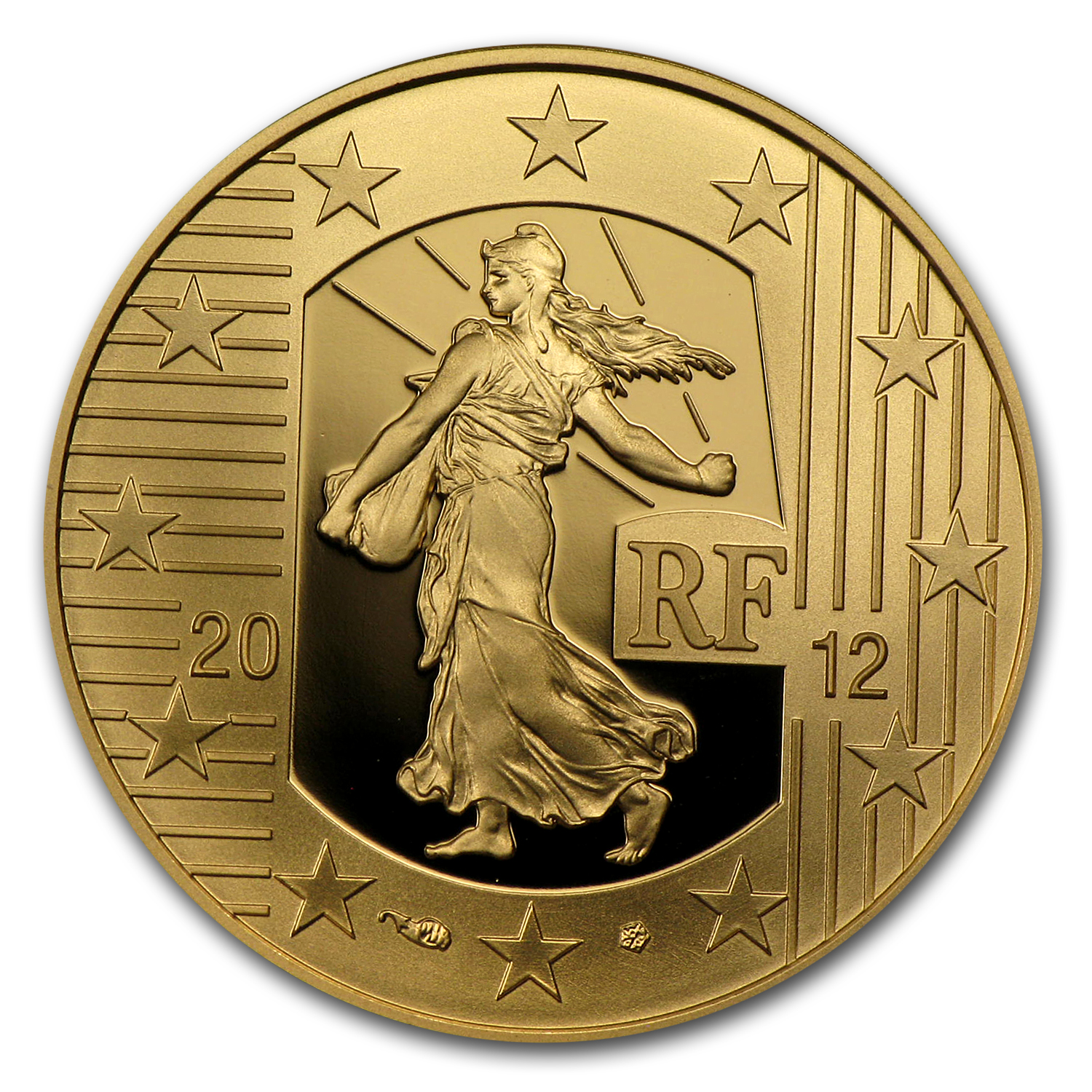 2012 1/4 oz Proof Gold €50 The Sower 10th Anniv of the Euro