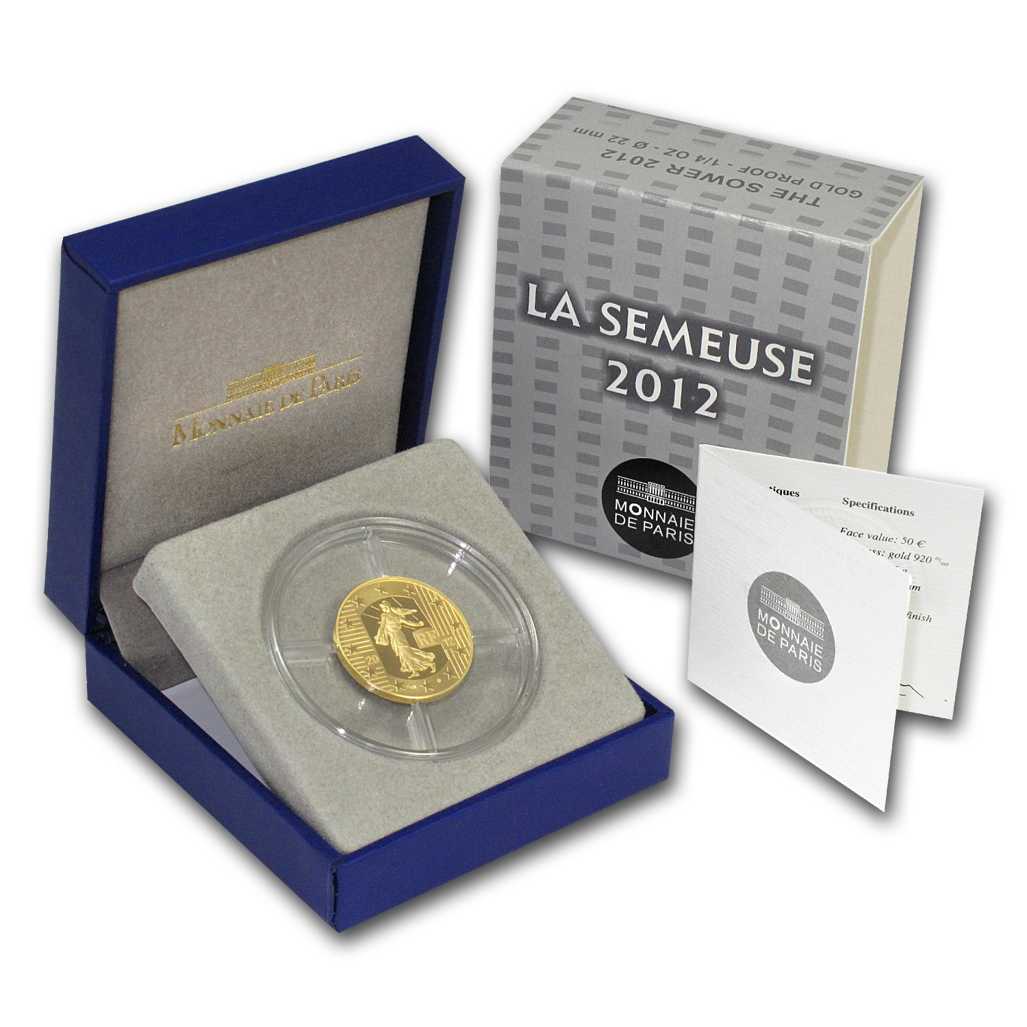 2012 1/4 oz Gold Proof - The Sower (€50) - 10th Anniv of the Euro