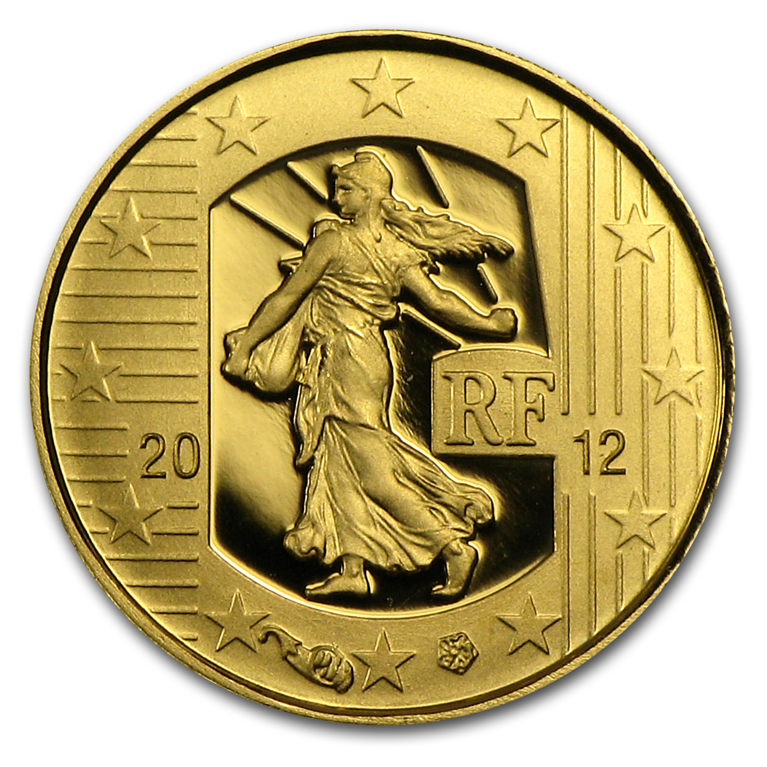 2012 1/2 gram Proof Gold €5 The Sower 10th Anniv of the Euro
