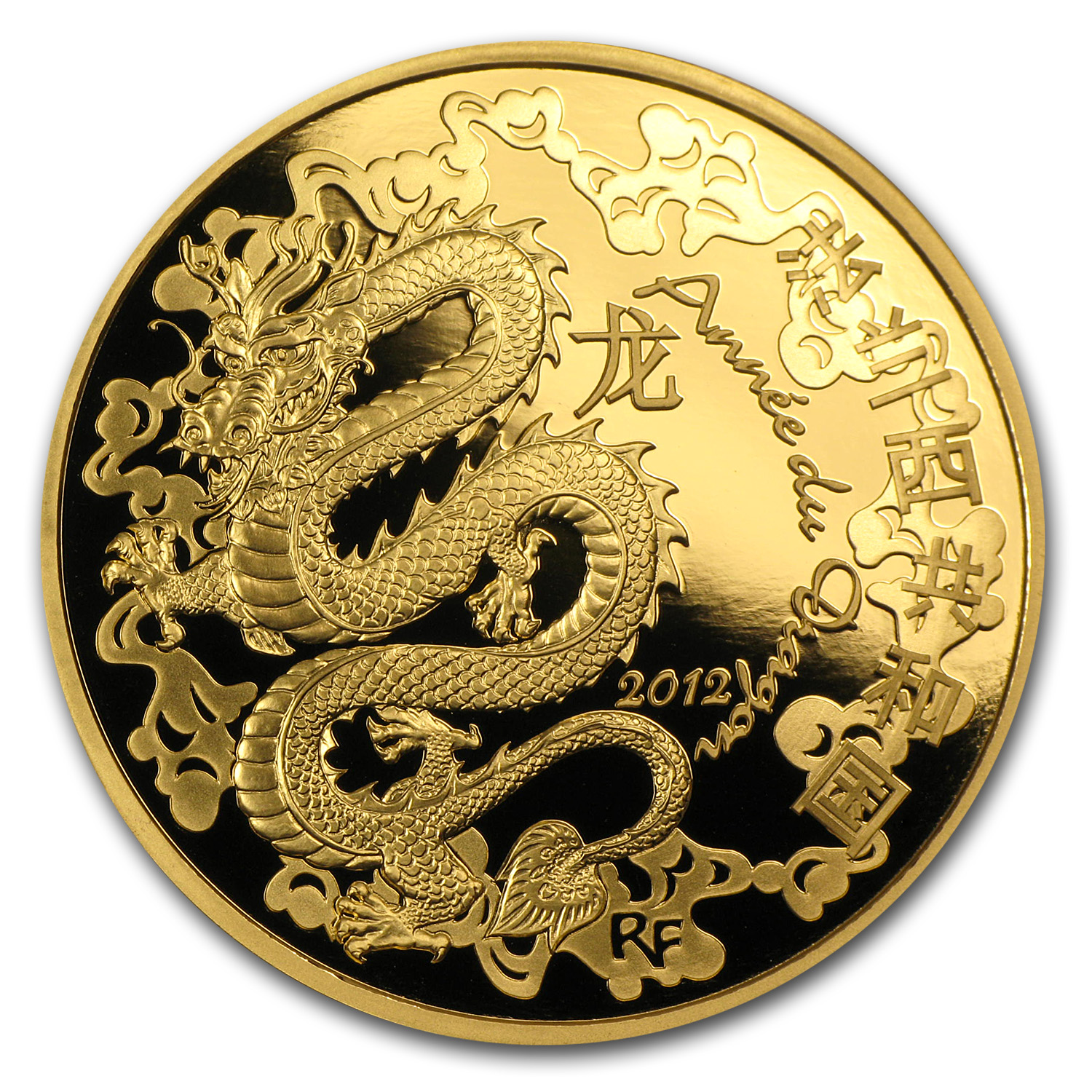 2012 1 oz Proof Gold €200 Year of the Dragon Lunar Series