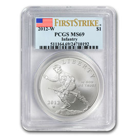 2012-W Infantry Soldier $1 Silver Commemorative MS-69 PCGS (FS)