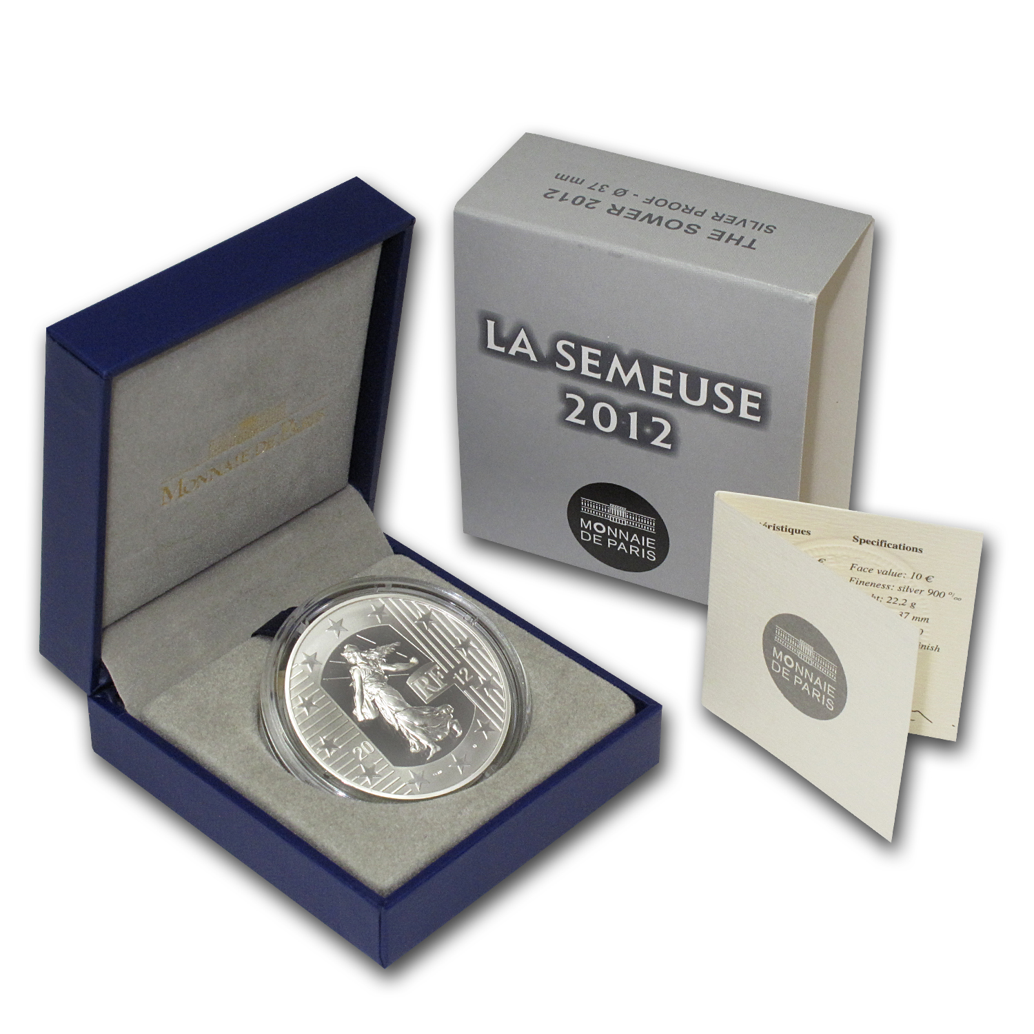 2012 France Silver €10 10th Anniv of the Euro Proof