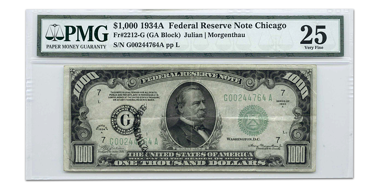 1934-A (G-Chicago) $1,000 FRN VF-20 PMG (Stamp Ink)