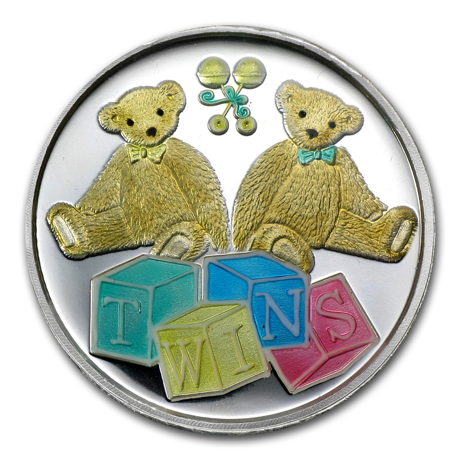 1 oz Silver Round - Twin Baby (Enameled, w/Box & Capsule)