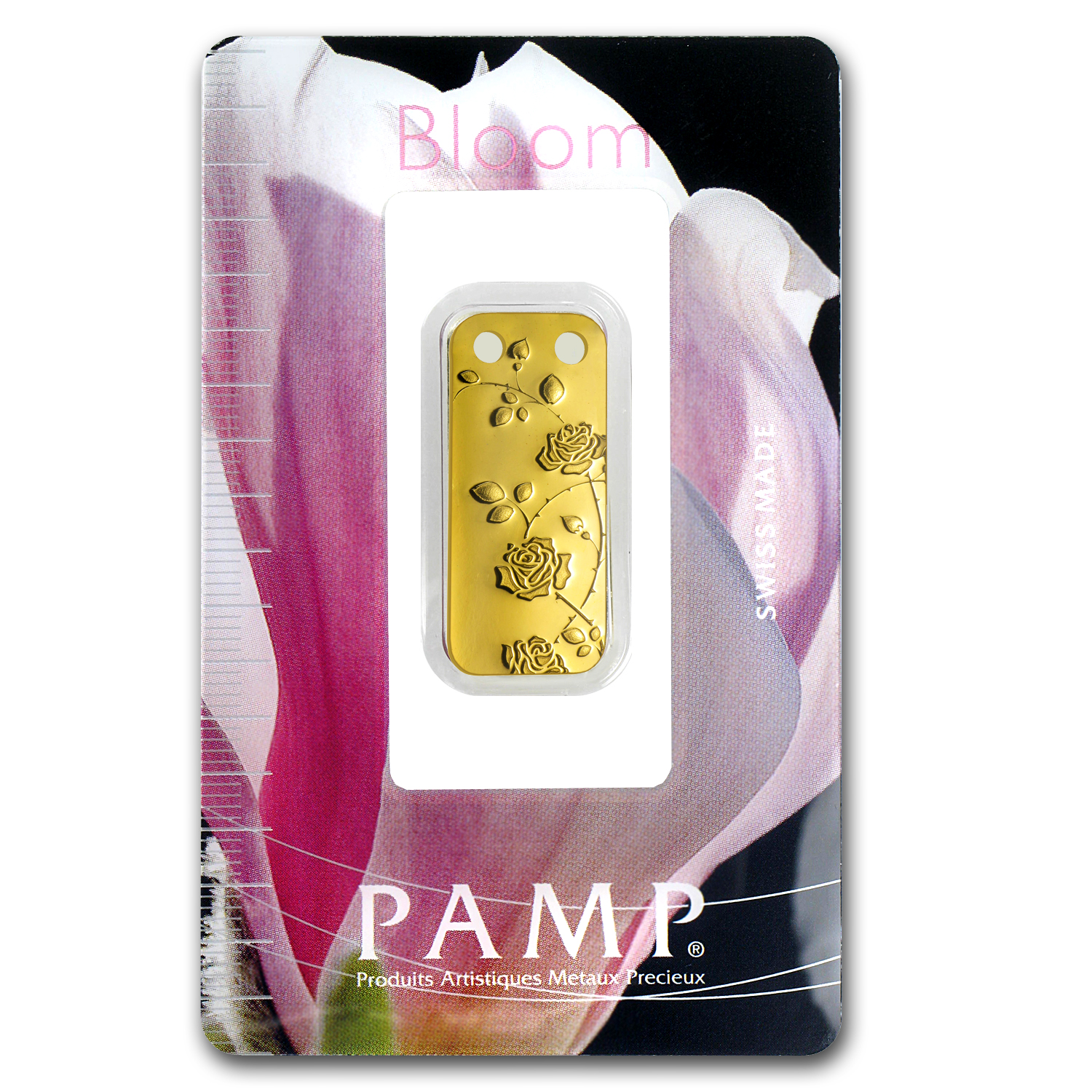 1/5 oz Gold Pendants - Pamp Suisse Ingot (Rambling Rose, Proof)