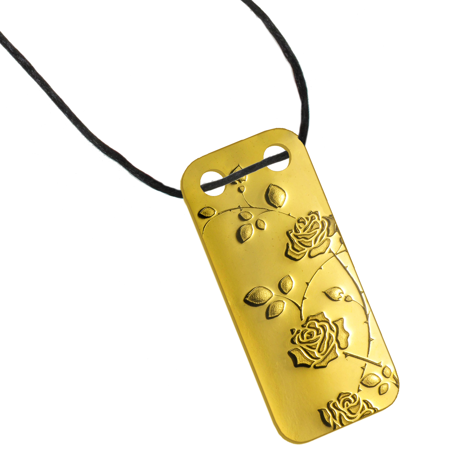 1/5 oz Gold Pendant - Pamp Suisse Ingot (Rambling Rose, Proof)