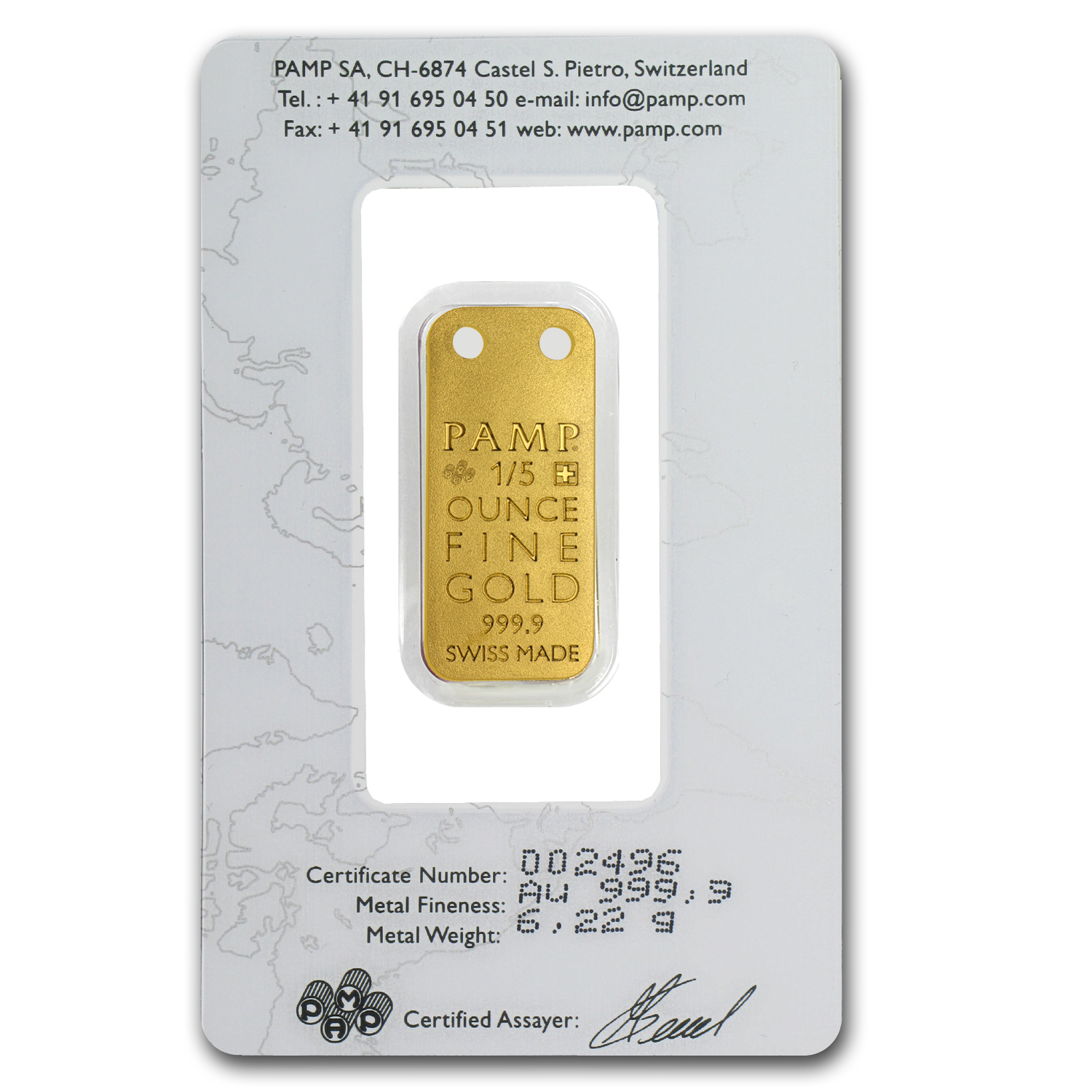 1/5 oz Gold Pendants - Pamp Suisse Ingot (Water Lily, Proof)