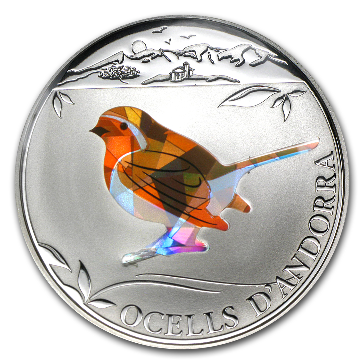 2012 Andorra Proof Silver 5 Diners Prism Birds Robin