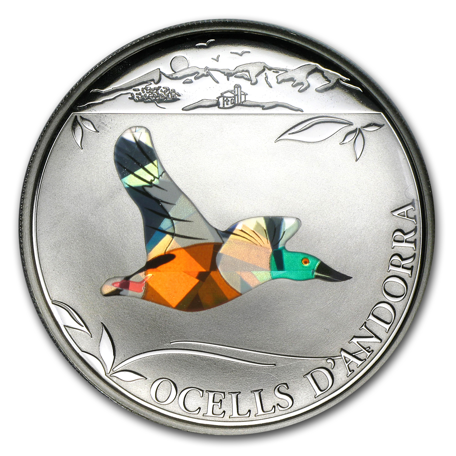 2012 Andorra Proof Silver 5 Diners Prism Birds Northern Shoveler
