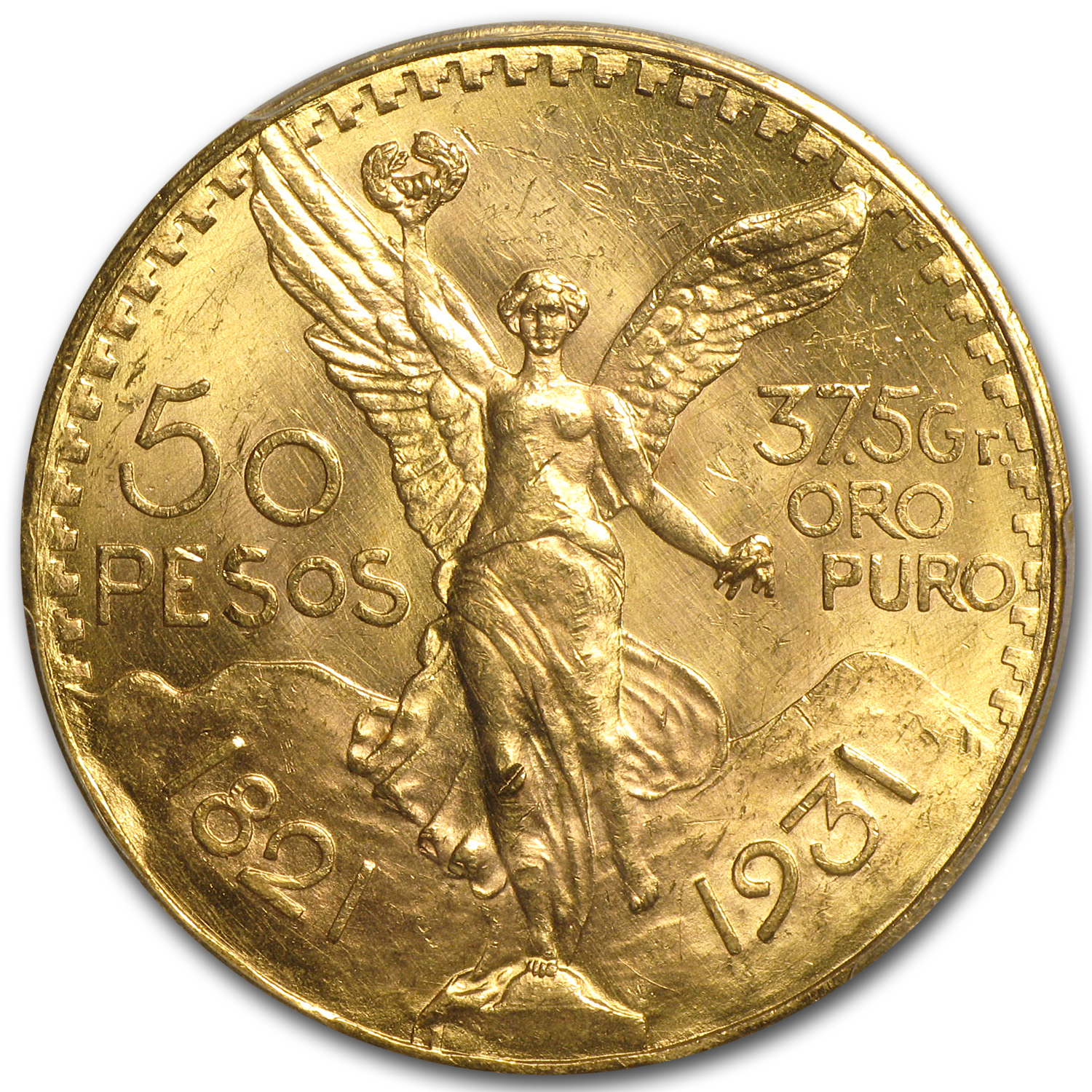 1931 Mexico Gold 50 Pesos Unc Details PCGS (Cleaned)