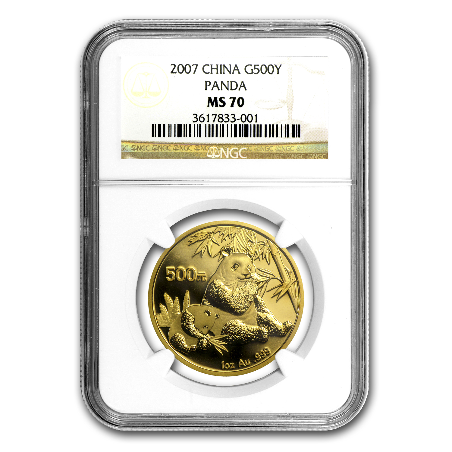 2007 China 1 oz Gold Panda MS-70 NGC