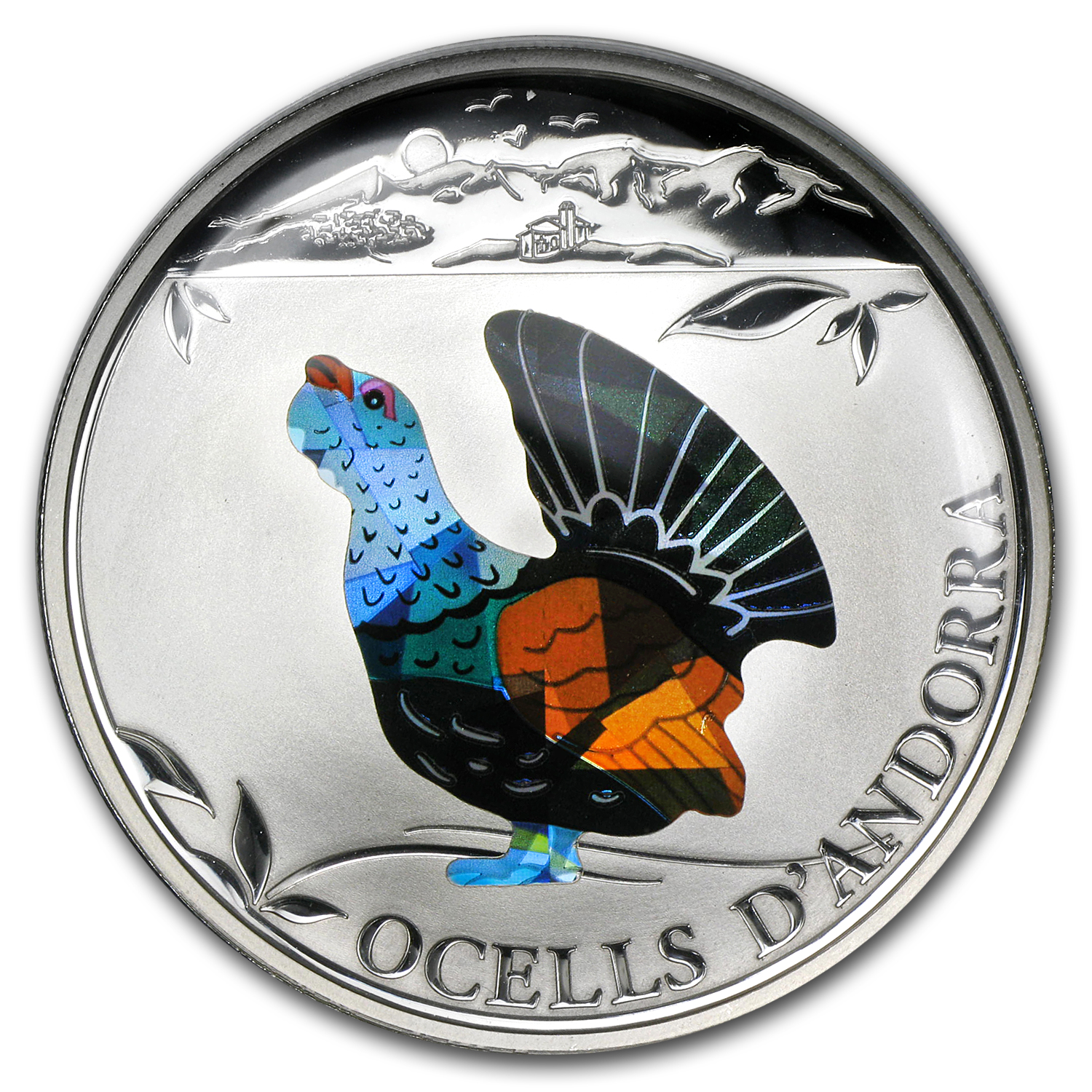 2012 Andorra Proof Silver 5 Diners Prism Birds Capercaillie