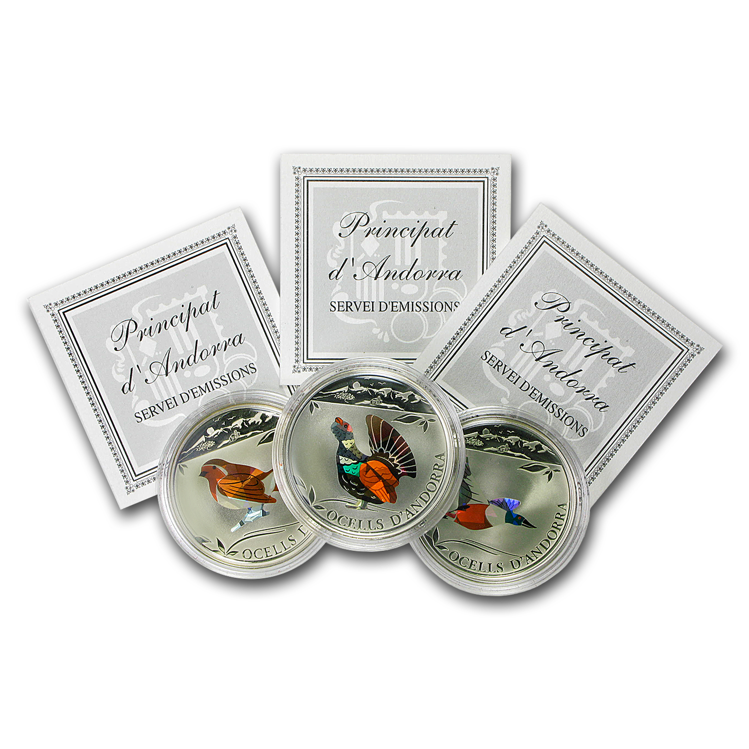 Andorra 2012 Proof Silver 5 Diners Prism Birds - 3 Coin Set