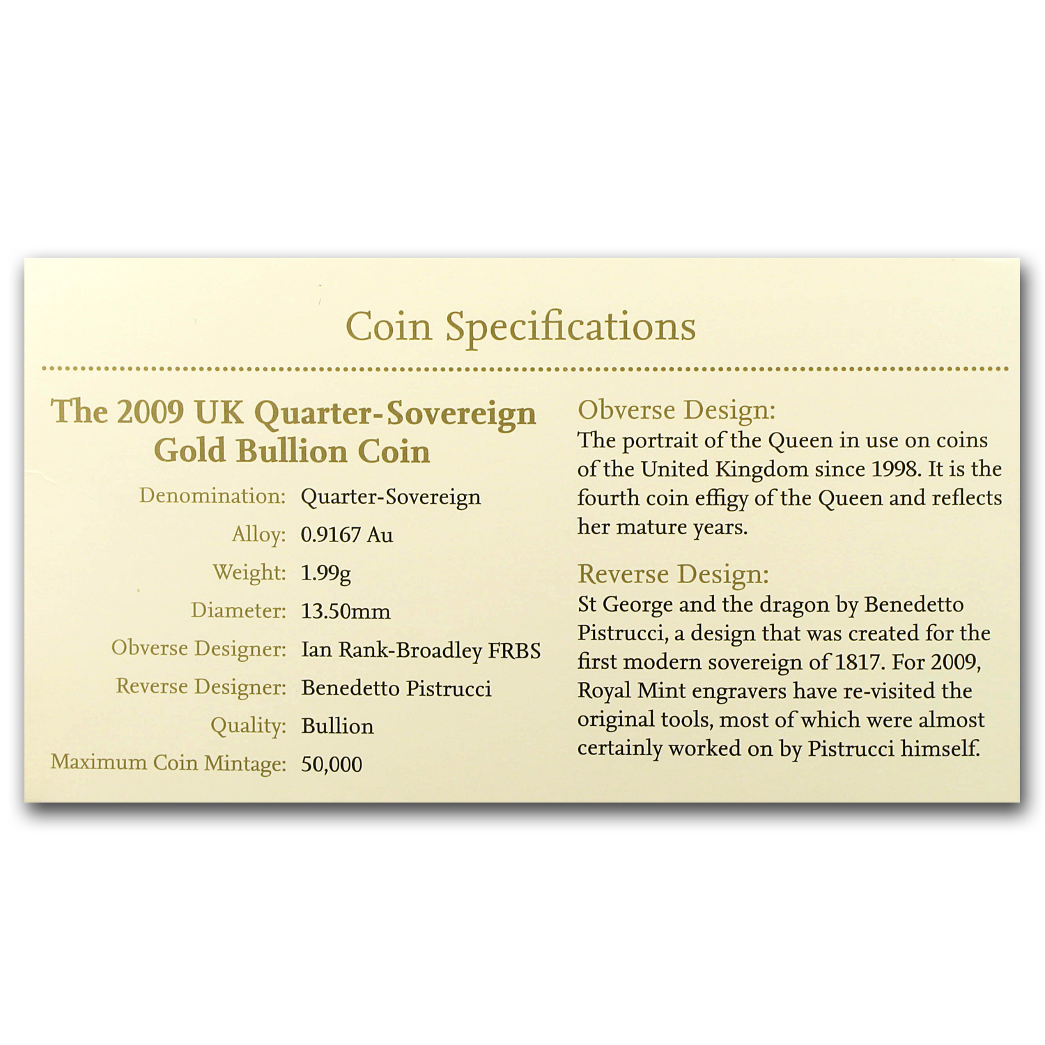 Great Britain 2009 Gold 1/4 Sovereign BU