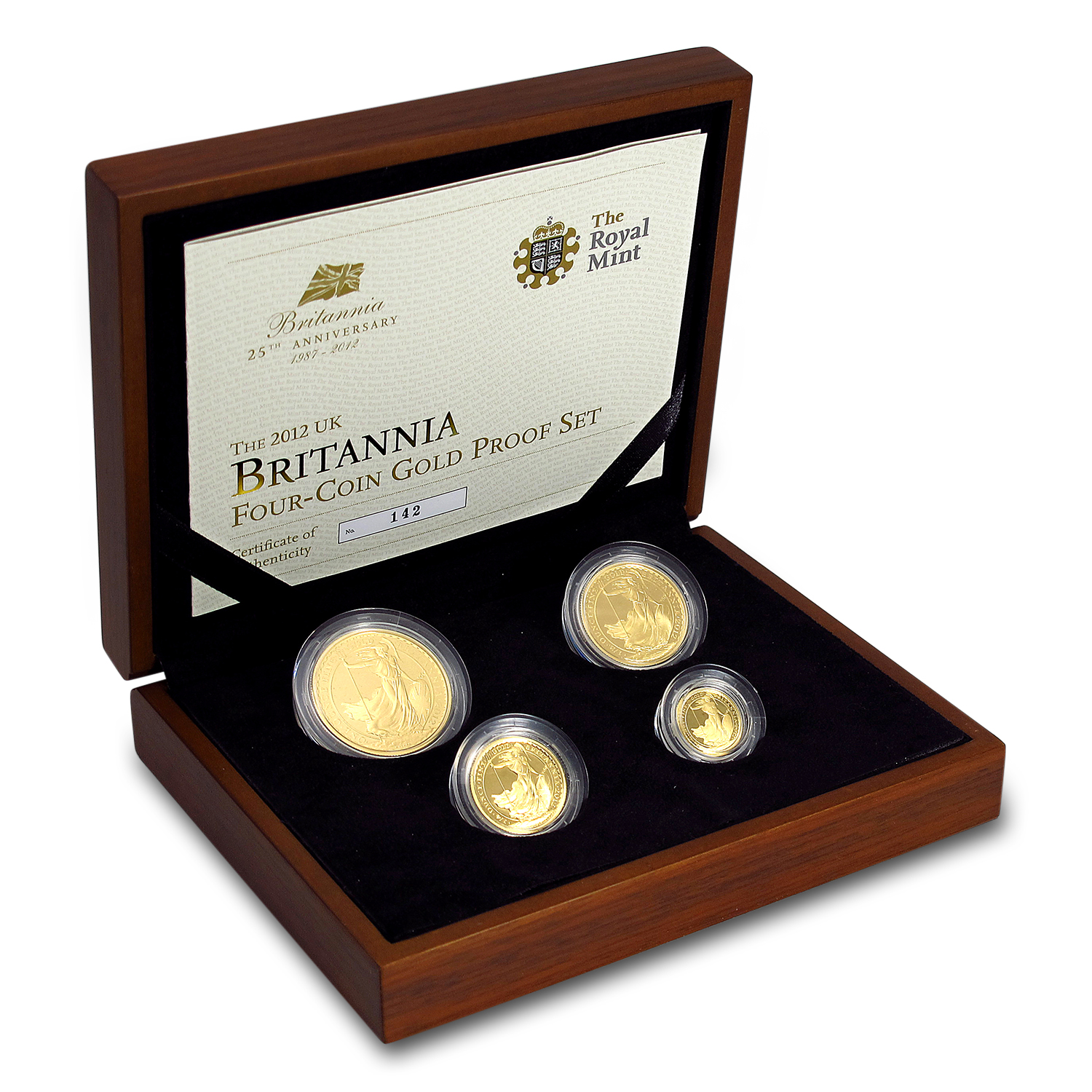 2012 4-Coin Gold Britannia Proof Set (w/Box & COA)