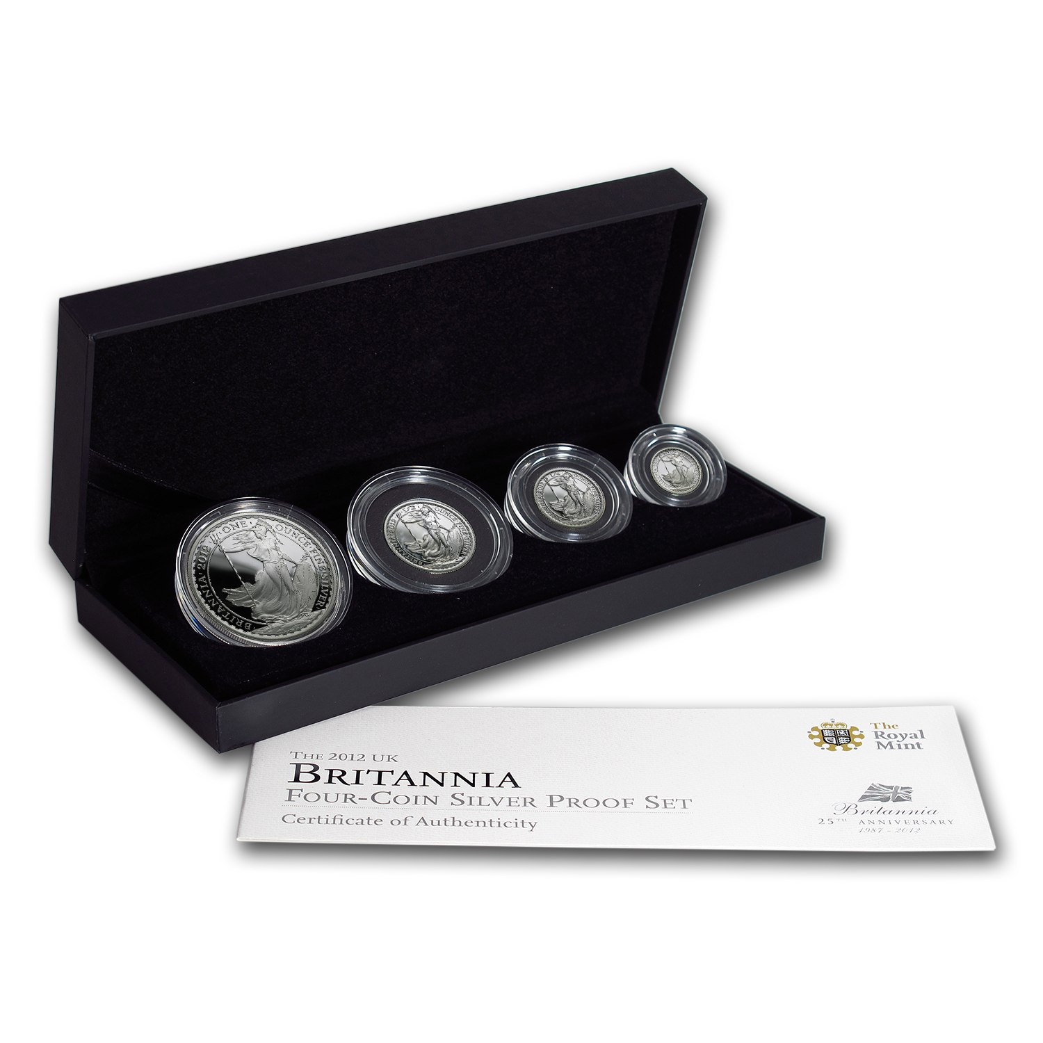2012 GB 4-Coin Silver Britannia Proof Set (w/Box & COA)
