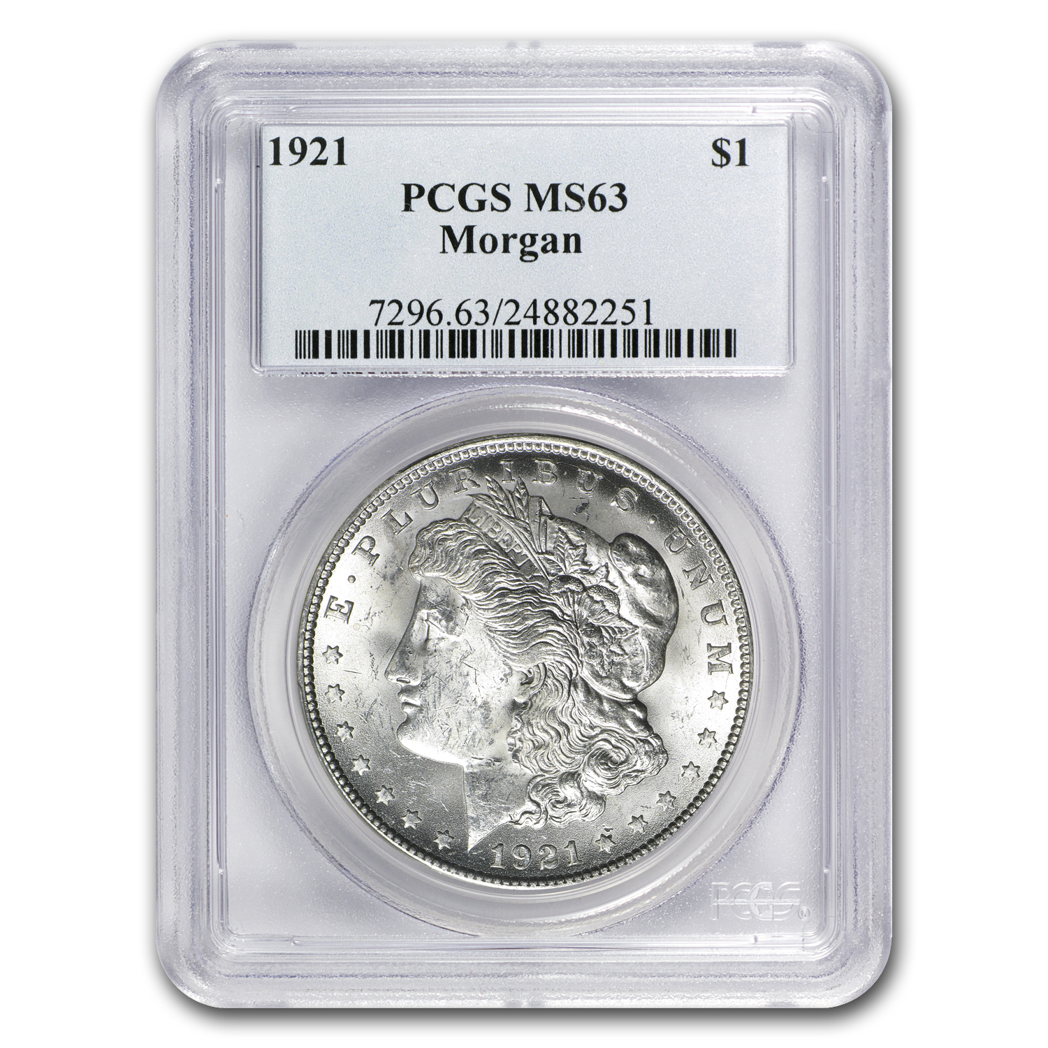 1921 Morgan Dollar P-D-S 3 Coin Set - MS-63 PCGS