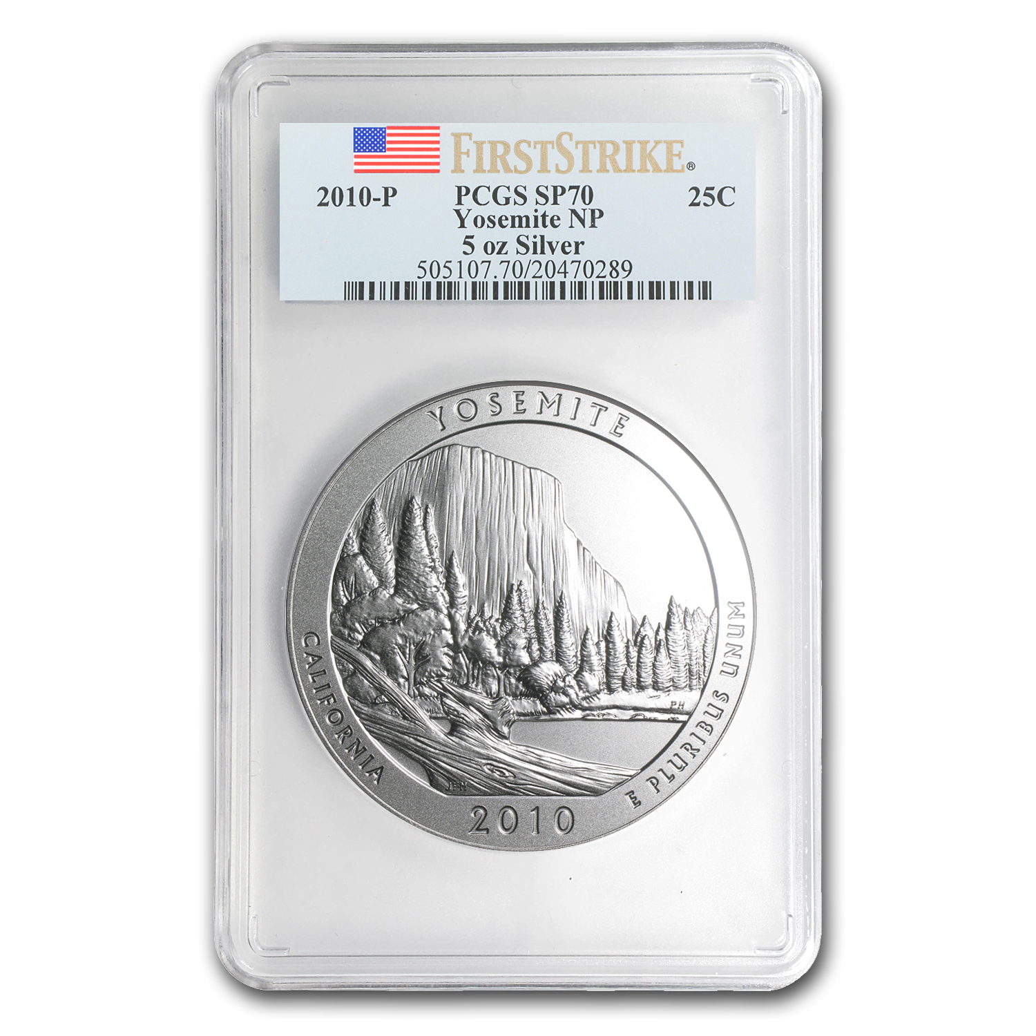 2010-P 5 oz Silver ATB Yosemite SP-70 PCGS (First Strike)