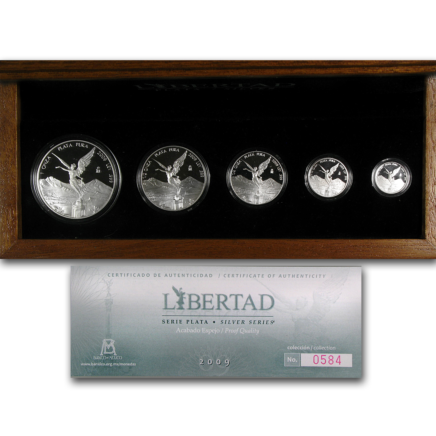 2009 Mexico 5-Coin Silver Libertad Proof Set (1.9 oz, Box & COA)