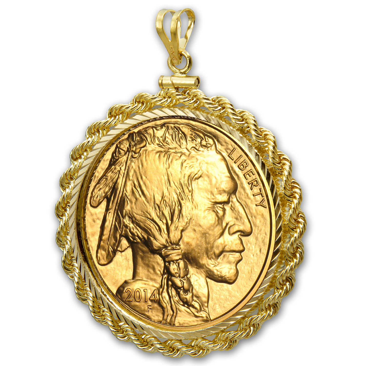 2014 1 oz Gold Buffalo Pendant (Rope-Diamond Cut Screw Top Bezel)