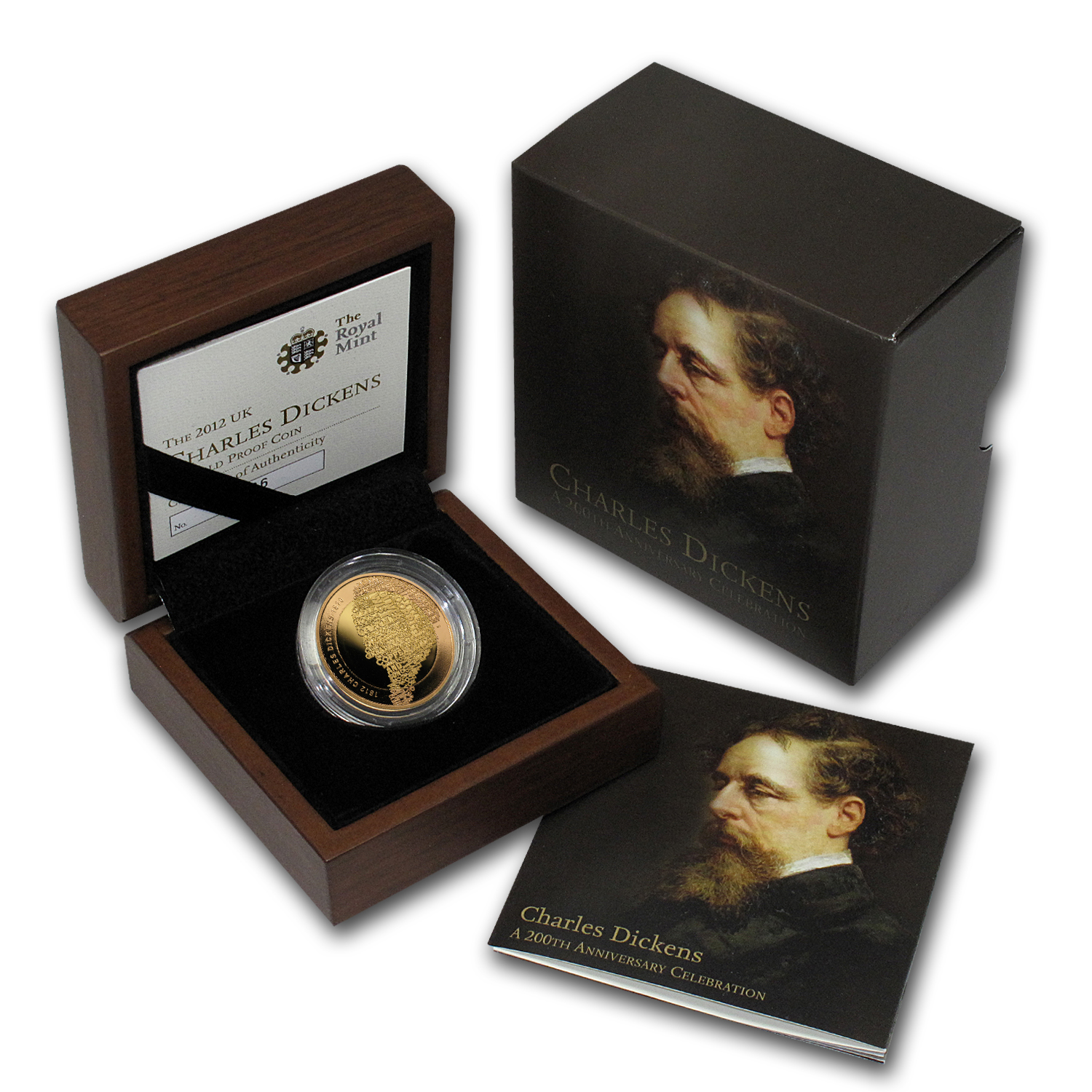 2012 Great Britain Proof Gold £2 Charles Dickens 200th Anniv