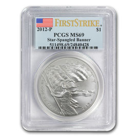 2012-P Star Spangled Banner $1 Silver Commem MS-69 PCGS (FS)