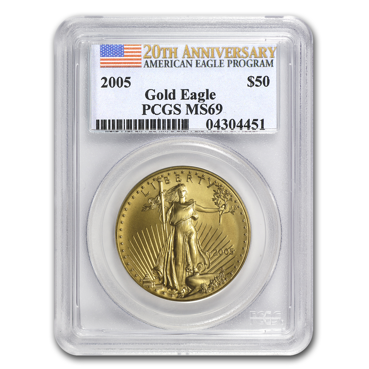 2005 1 oz Gold American Eagle MS-69 PCGS (20th Anniv)