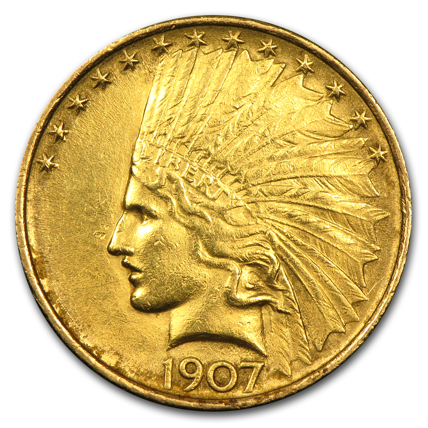 1907 $10 Indian Gold Eagle (Cleaned, First Year of Issue)