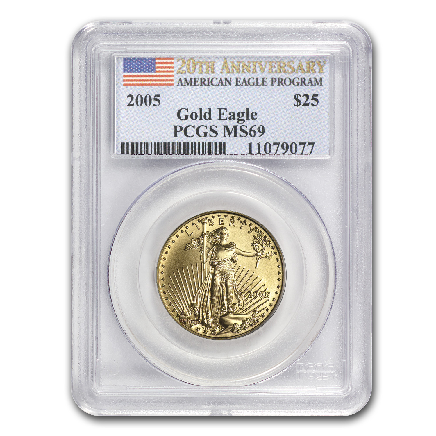 2005 1/2 oz Gold American Eagle MS-69 PCGS (20th Anniv)