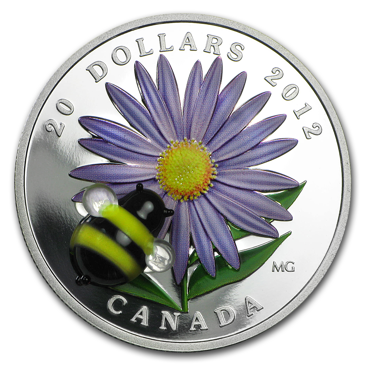 2012 1 oz Silver Canadian $20 Aster & Venetian Glass Bumblebee