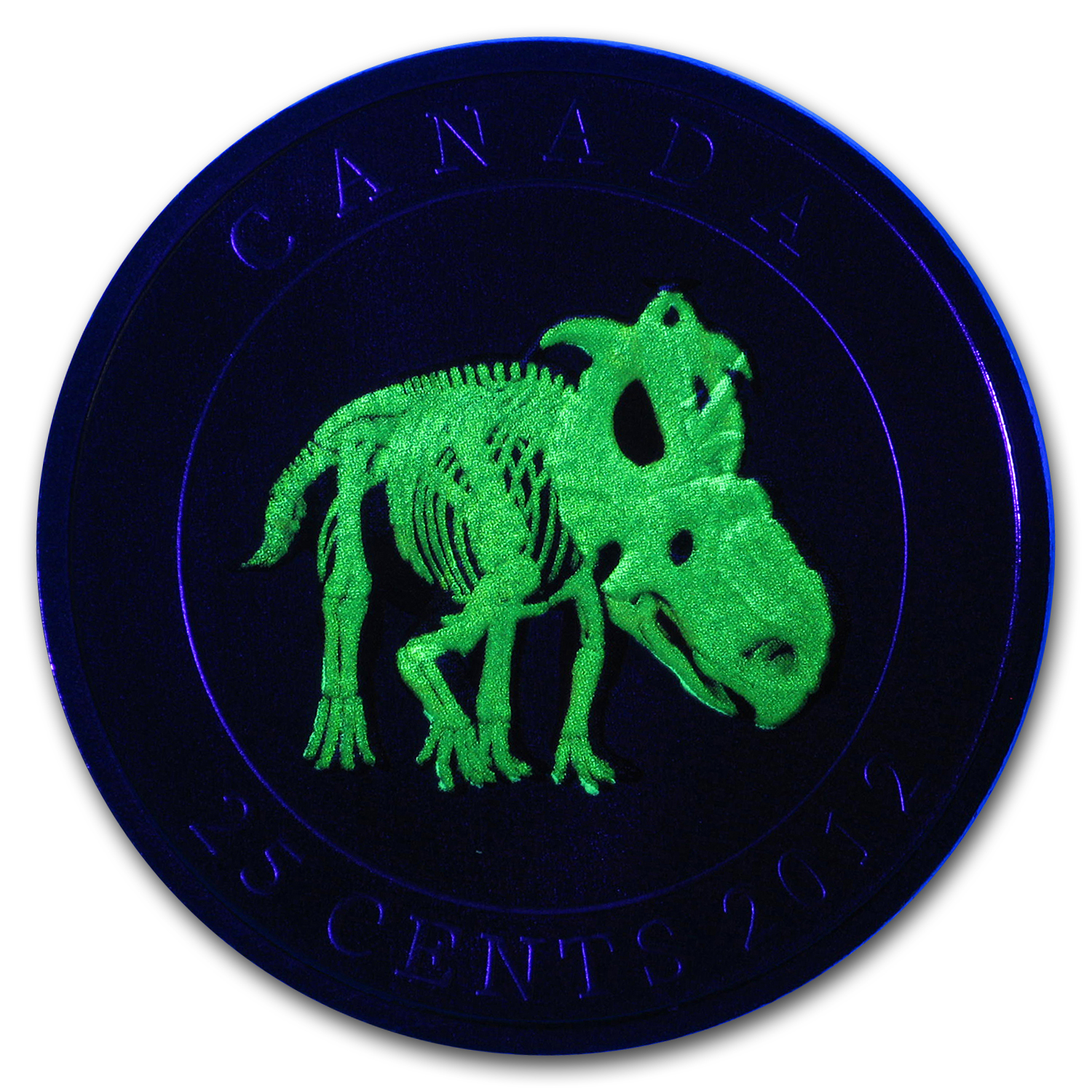 2012 Canada $0.25 Glow in the Dark Dinosaur Pachyrhinosaurus