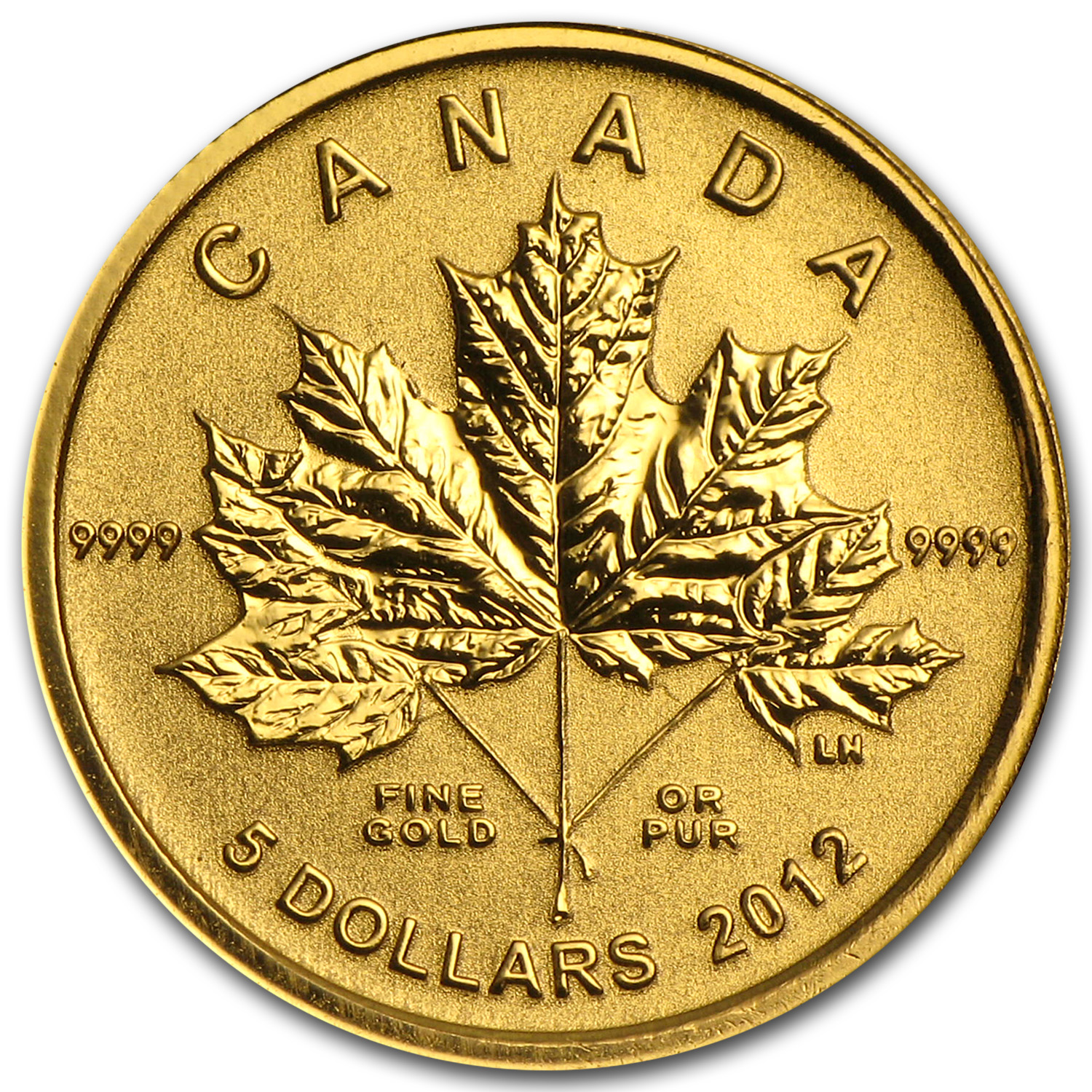 2012 1/10 oz Gold Canadian $5 Maple Leaf Forever (w/Box & COA)