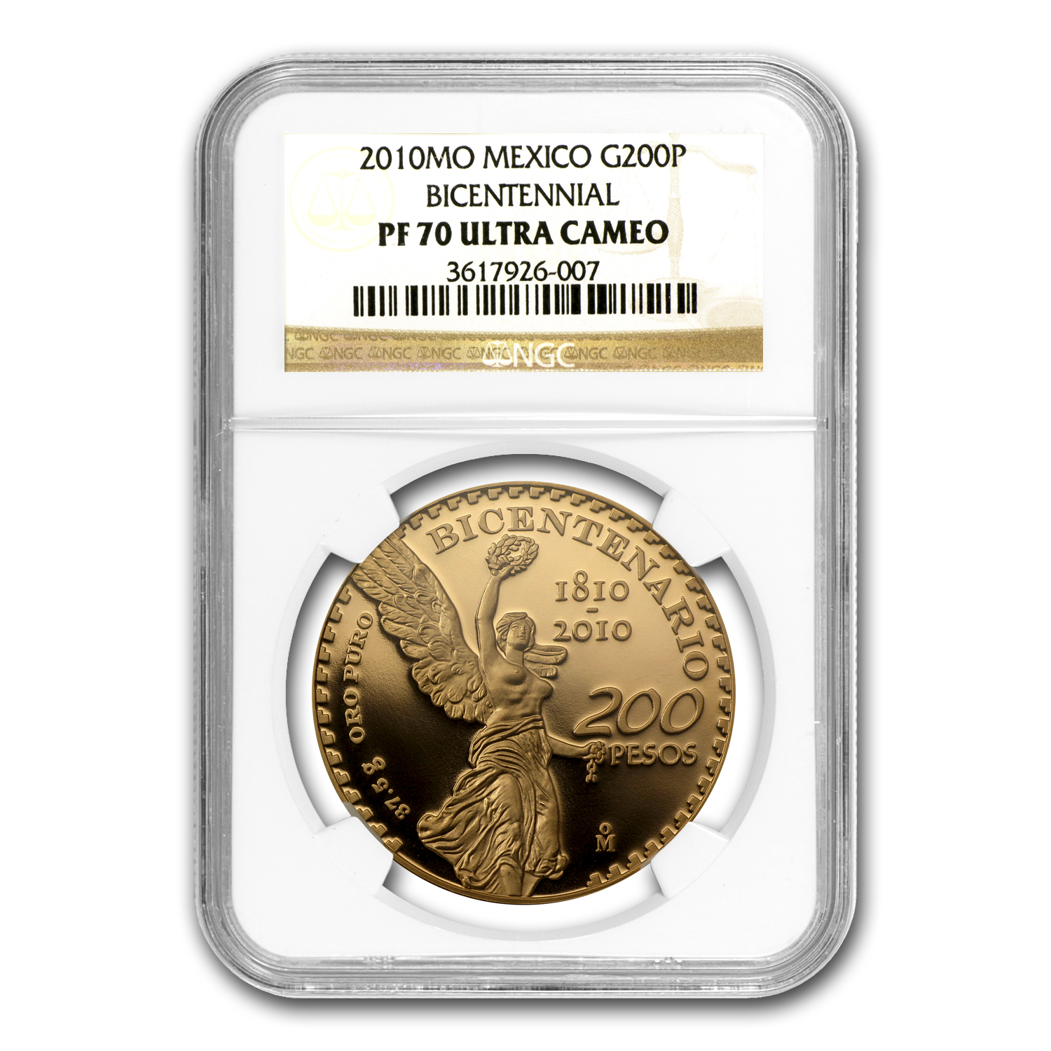 2010 Gold 200 Pesos Mexican Bicentenary PF-70 NGC Registry Set