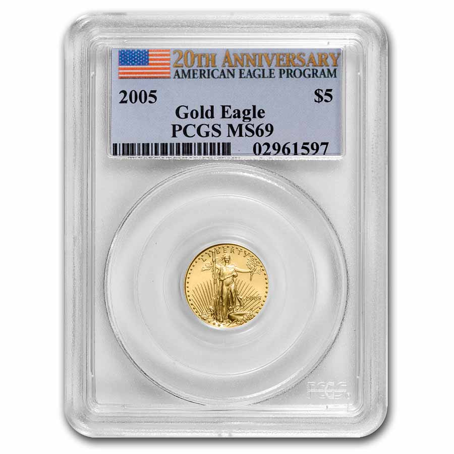 2005 1/10 oz Gold American Eagle MS-69 PCGS (20th Anniversary)