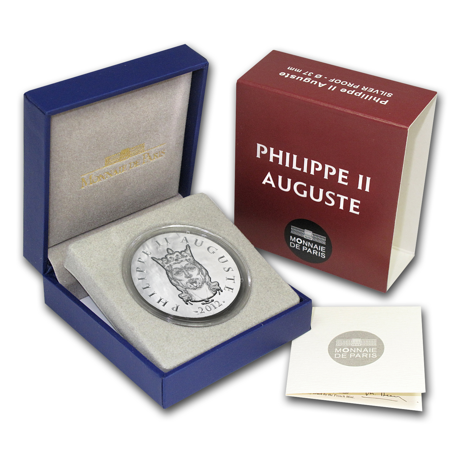 2012 France Silver €10 Legendary Collection (Philippe II Auguste)