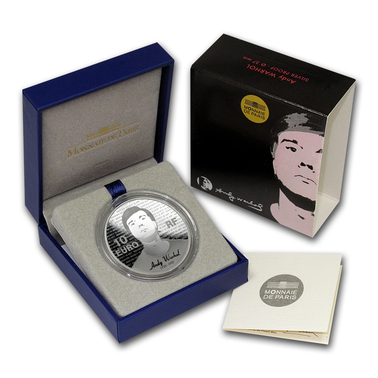 2011 10€ Silver Proof Series of French Painters - Andy Warhol