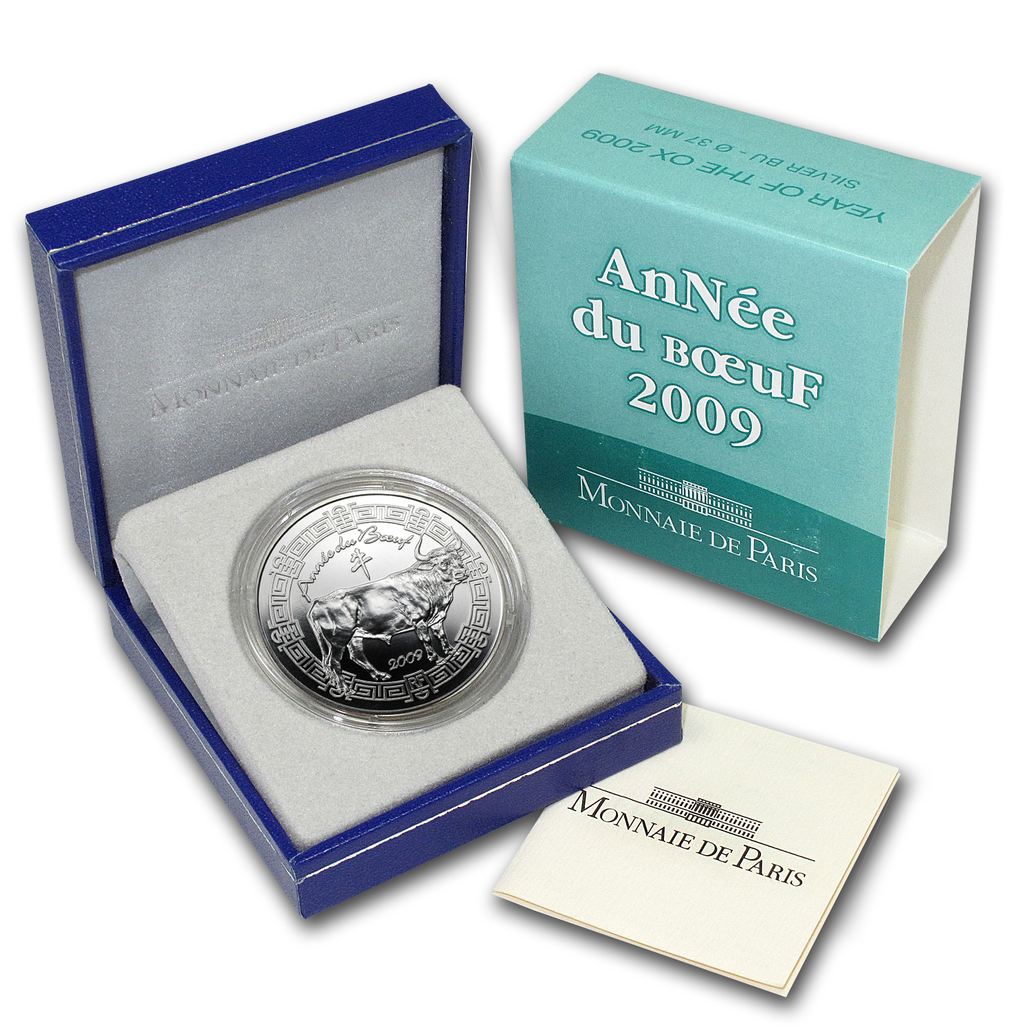 2009 5 Euro Silver France Year of the Ox Coin - Lunar Series