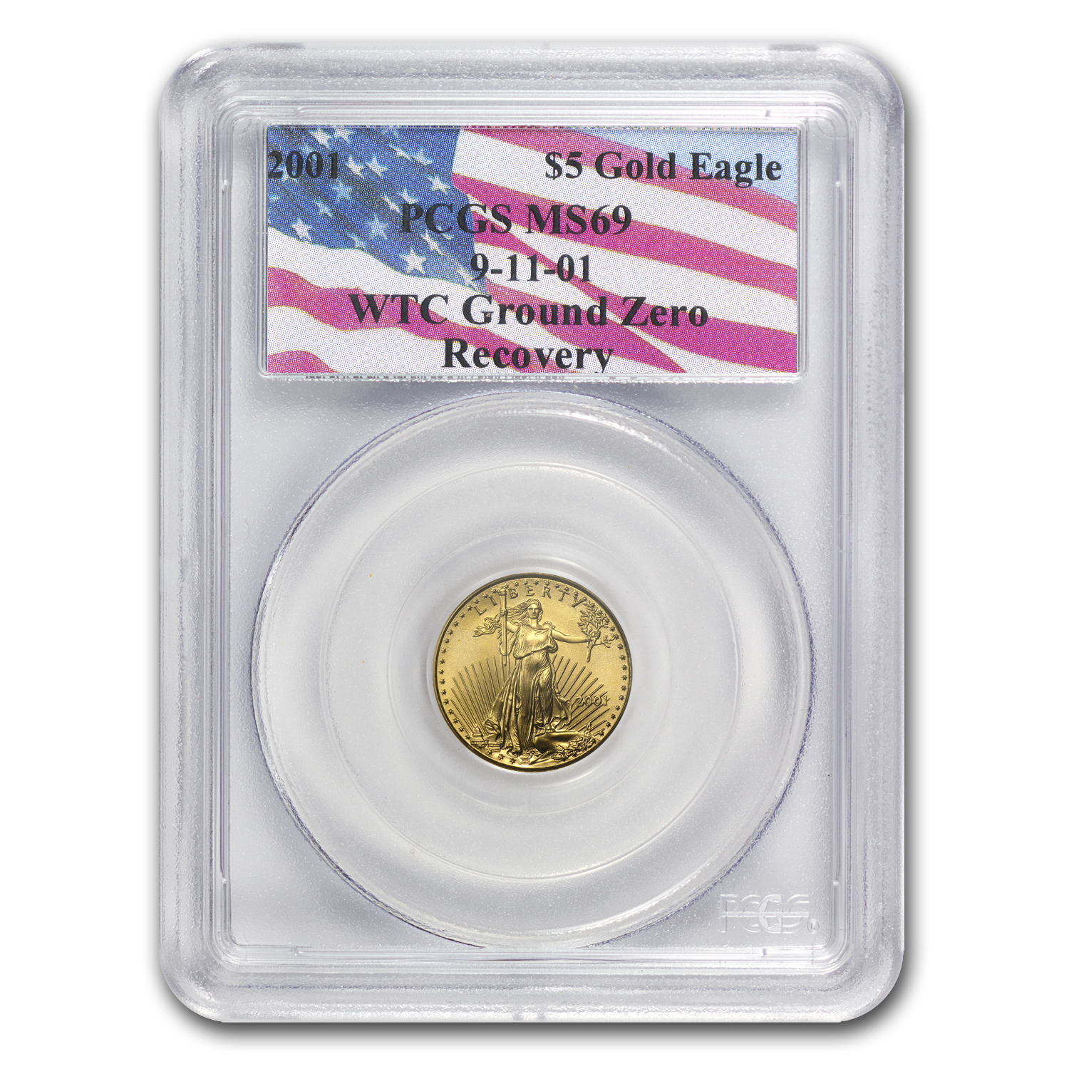 2001 1/10 oz Gold American Eagle MS-69 PCGS (World Trade Center)