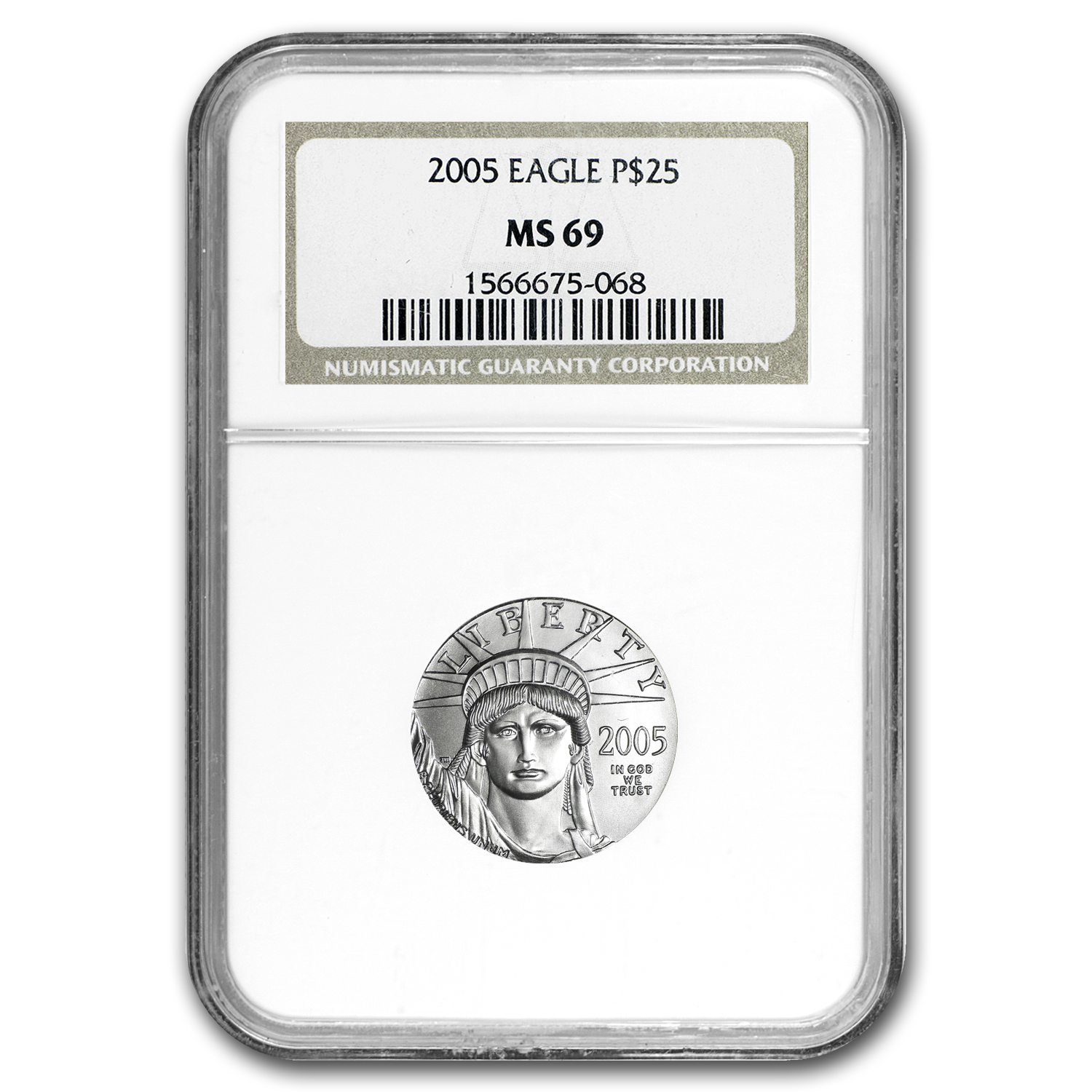 2005 1/4 oz Platinum American Eagle MS-69 NGC