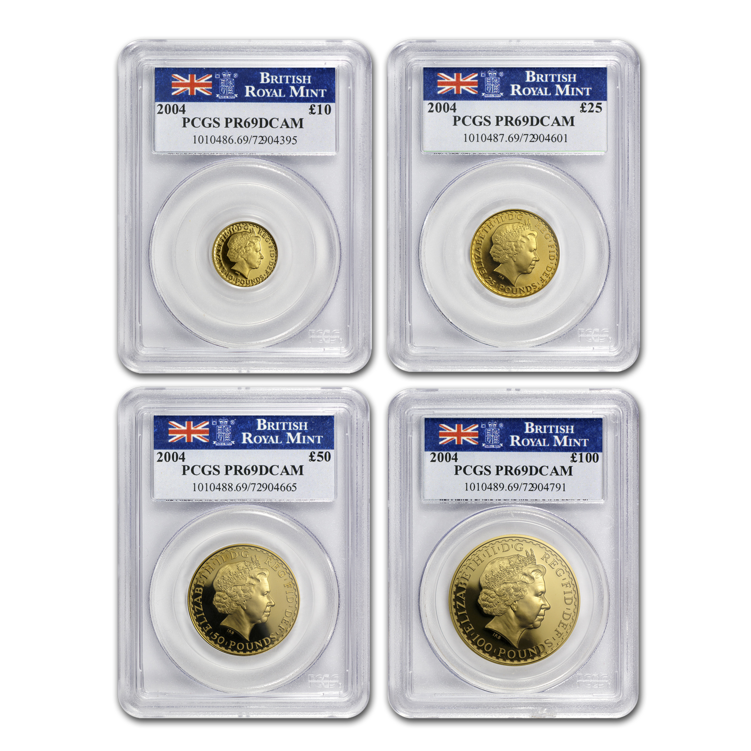 2004 4-Coin Gold Britannia Proof Set PR-69 PCGS
