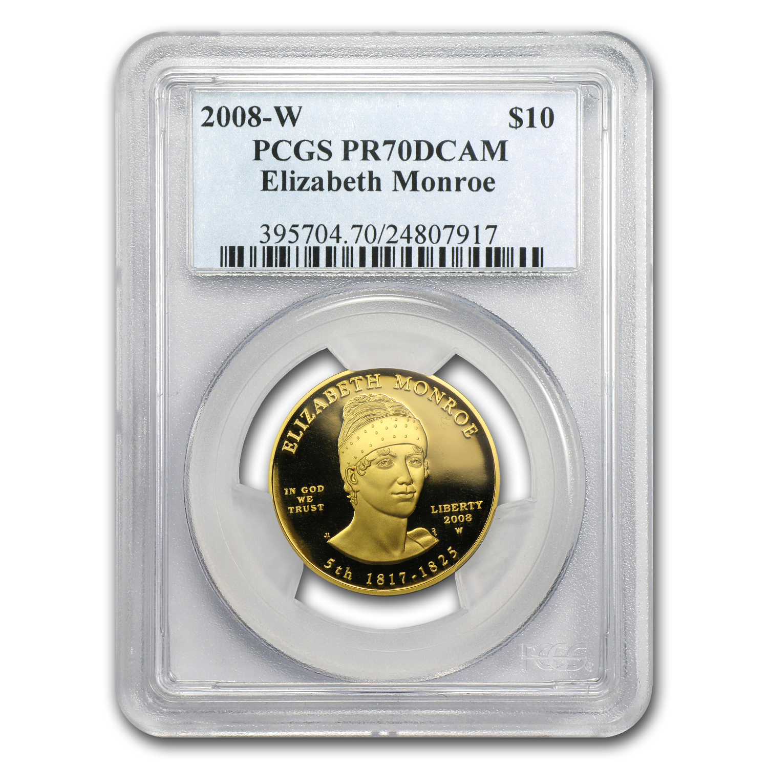 2008-W 1/2 oz Proof Gold Elizabeth Monroe PR-70 PCGS