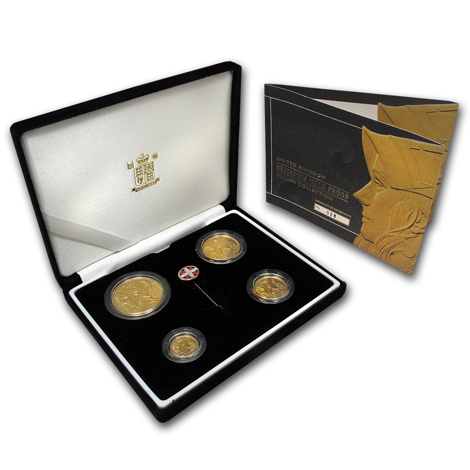 2003 4-Coin Gold Britannia Deluxe Prf Set (w/Box, COA, & Tie Pin)