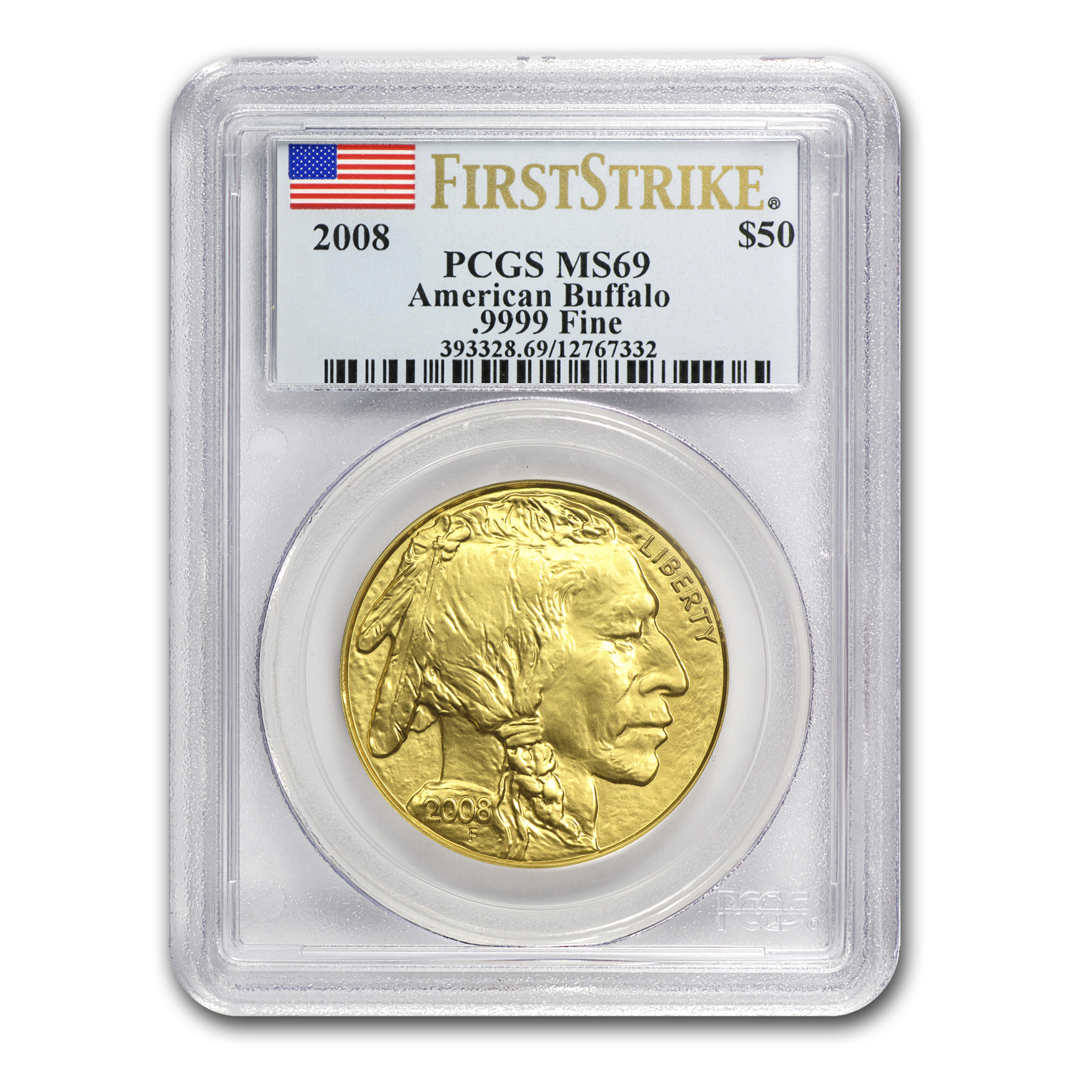 2008 1 oz Gold Buffalo MS-69 PCGS (First Strike)